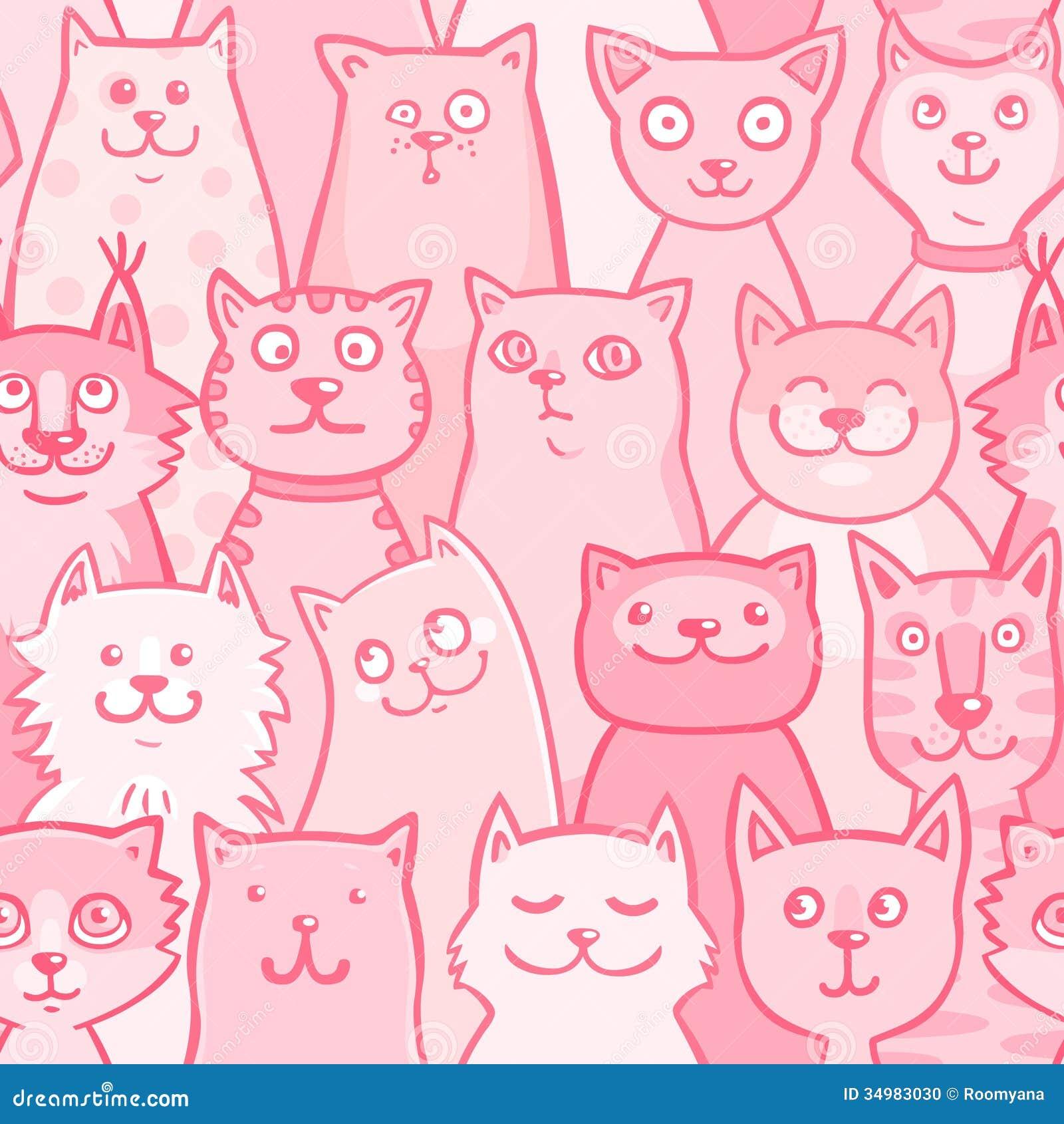 pattern pink cats stock photo   image 34983030