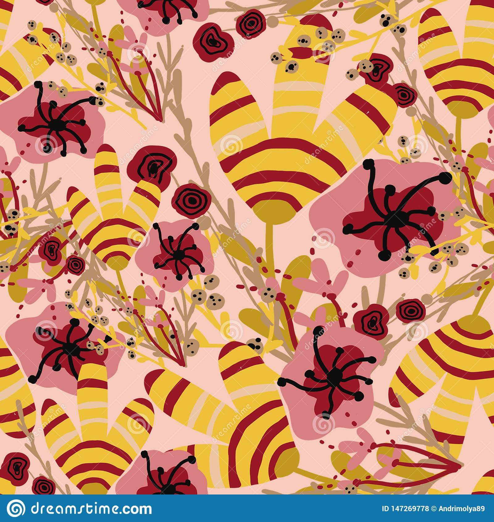 Pattern with pink and yellow tropical flowers