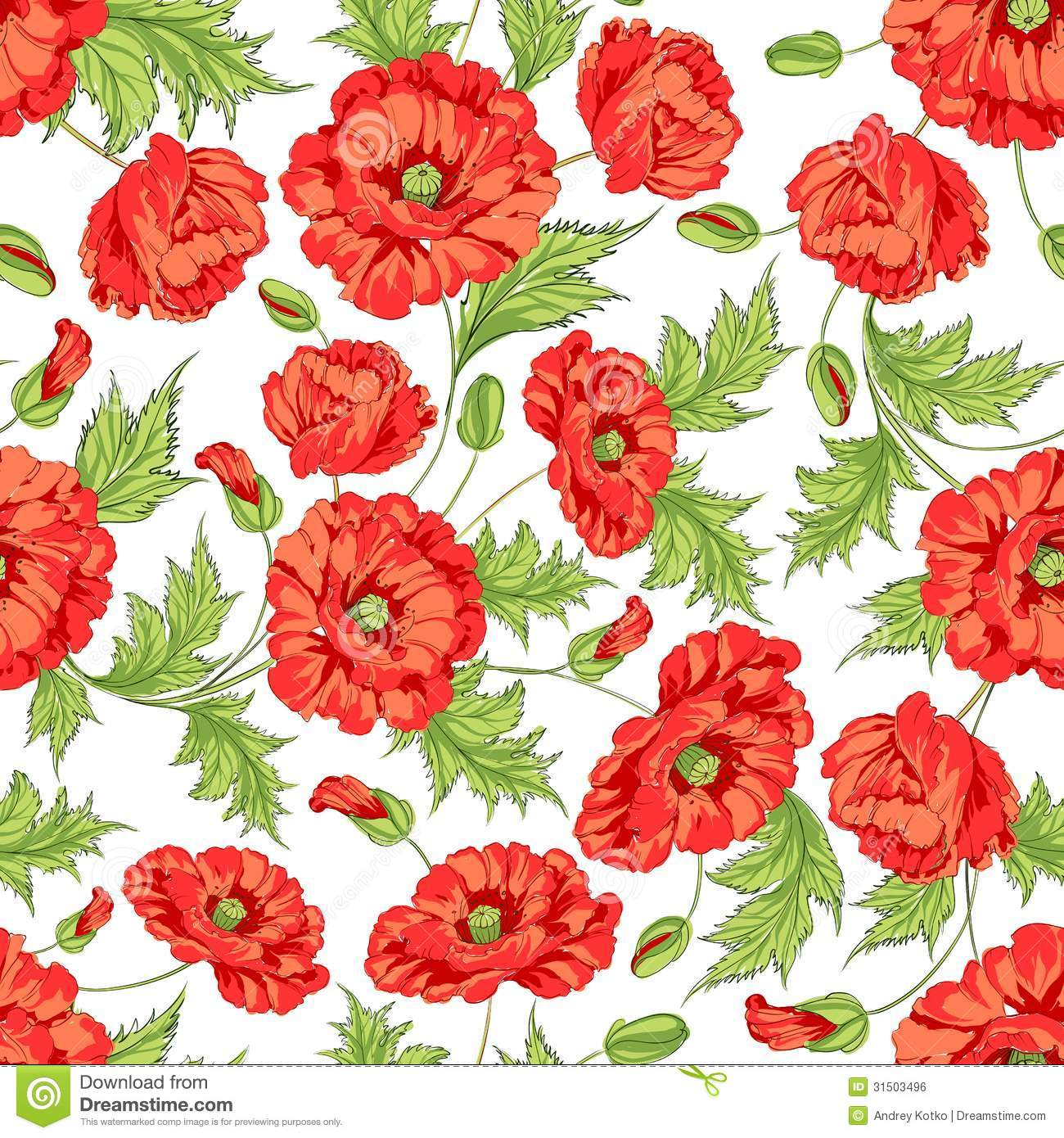 Pattern Of Poppy Flowers Illustration 31503496 Megapixl