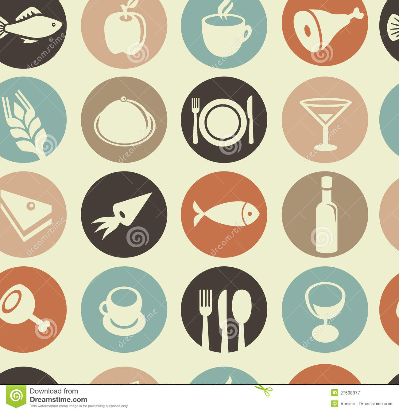 Pattern With Restaurant And Food Icons Royalty Free Stock ...