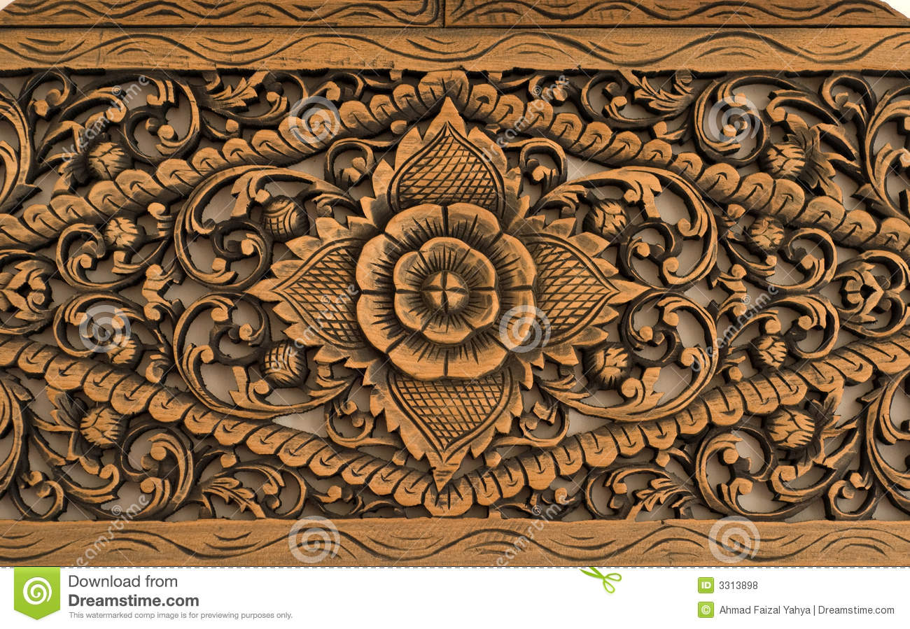 Pattern of rose carved on wood stock photo image