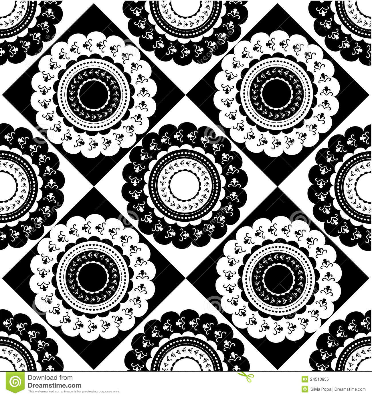 Black and white ornaments - Pattern Of Round Black And White Ornaments Royalty Free Stock Photo
