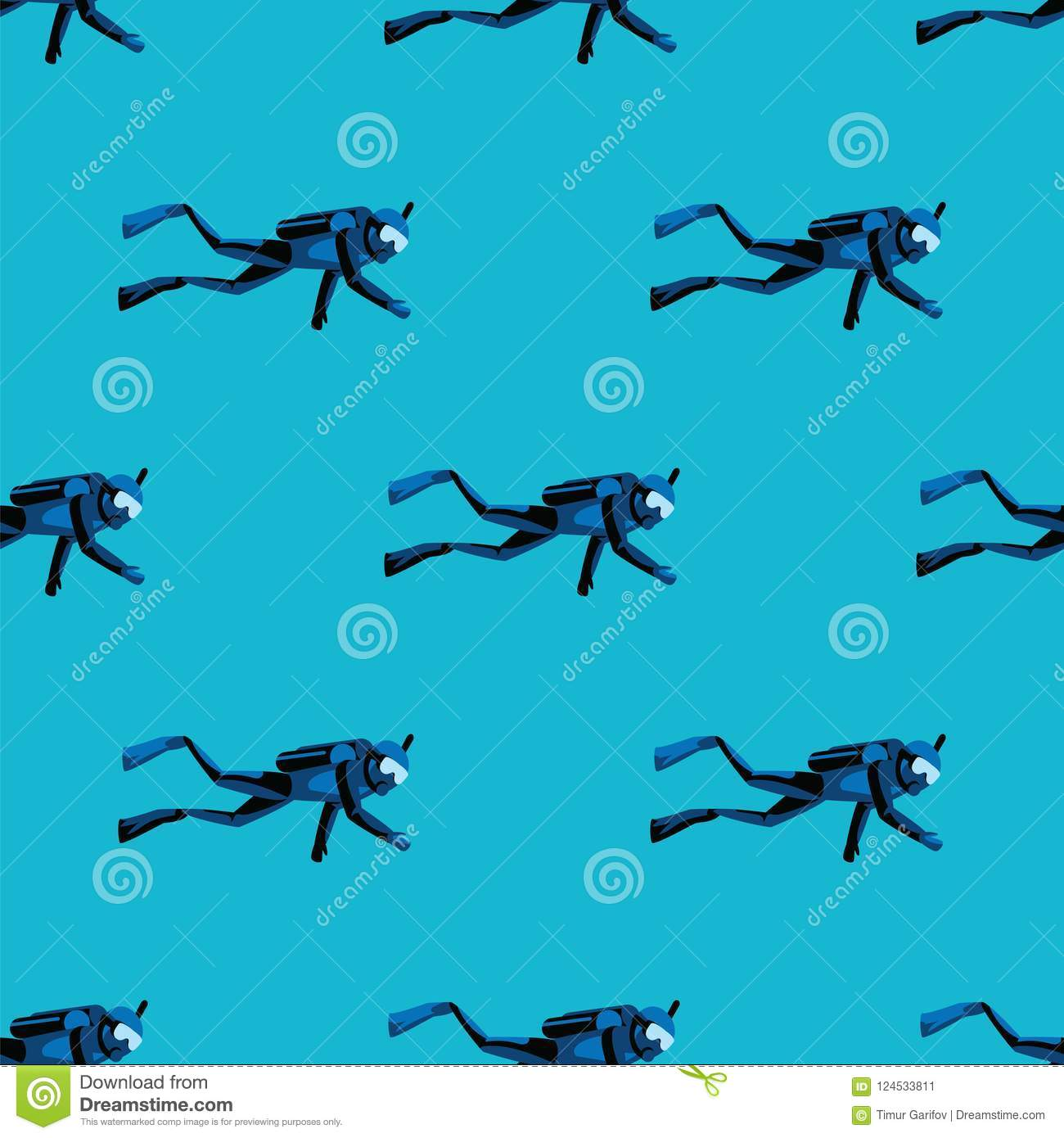 Pattern Scuba Diver Diving Under Water On Blue Sea