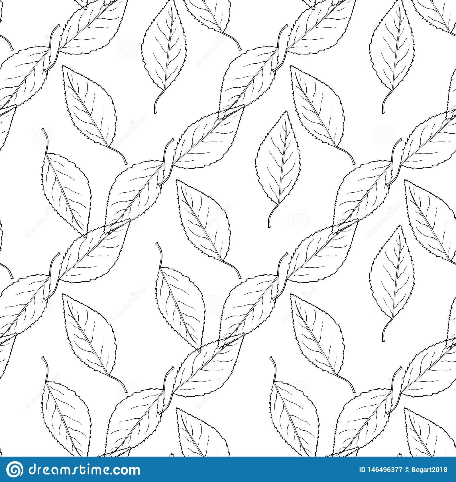 Pattern the seamless monochrome with leaves
