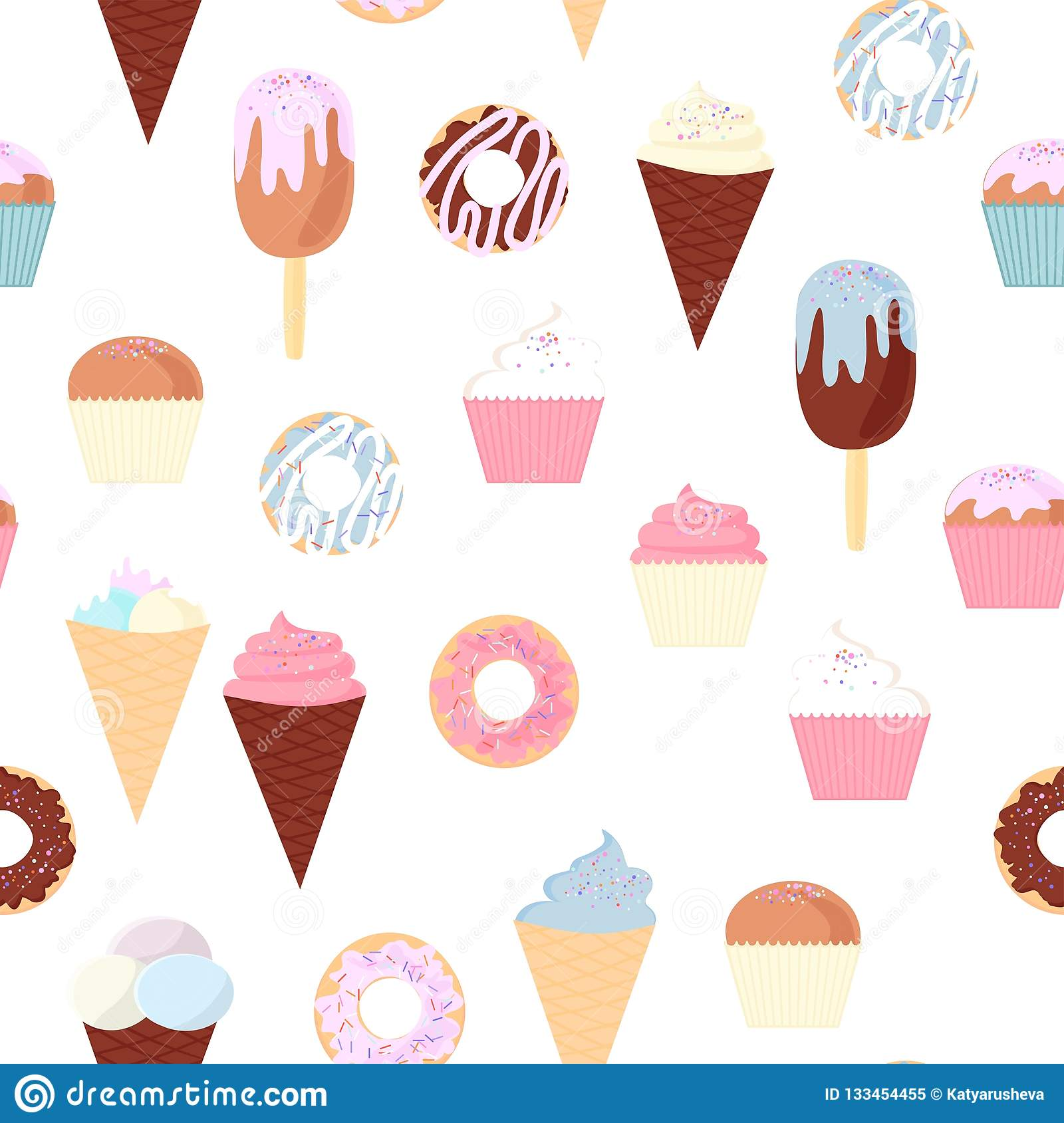 Pattern From A Set Of Colorful Delicious Cupcakes Cakes Desserts Ice Cream And Donuts Cupcake Icons Flat Style Vector