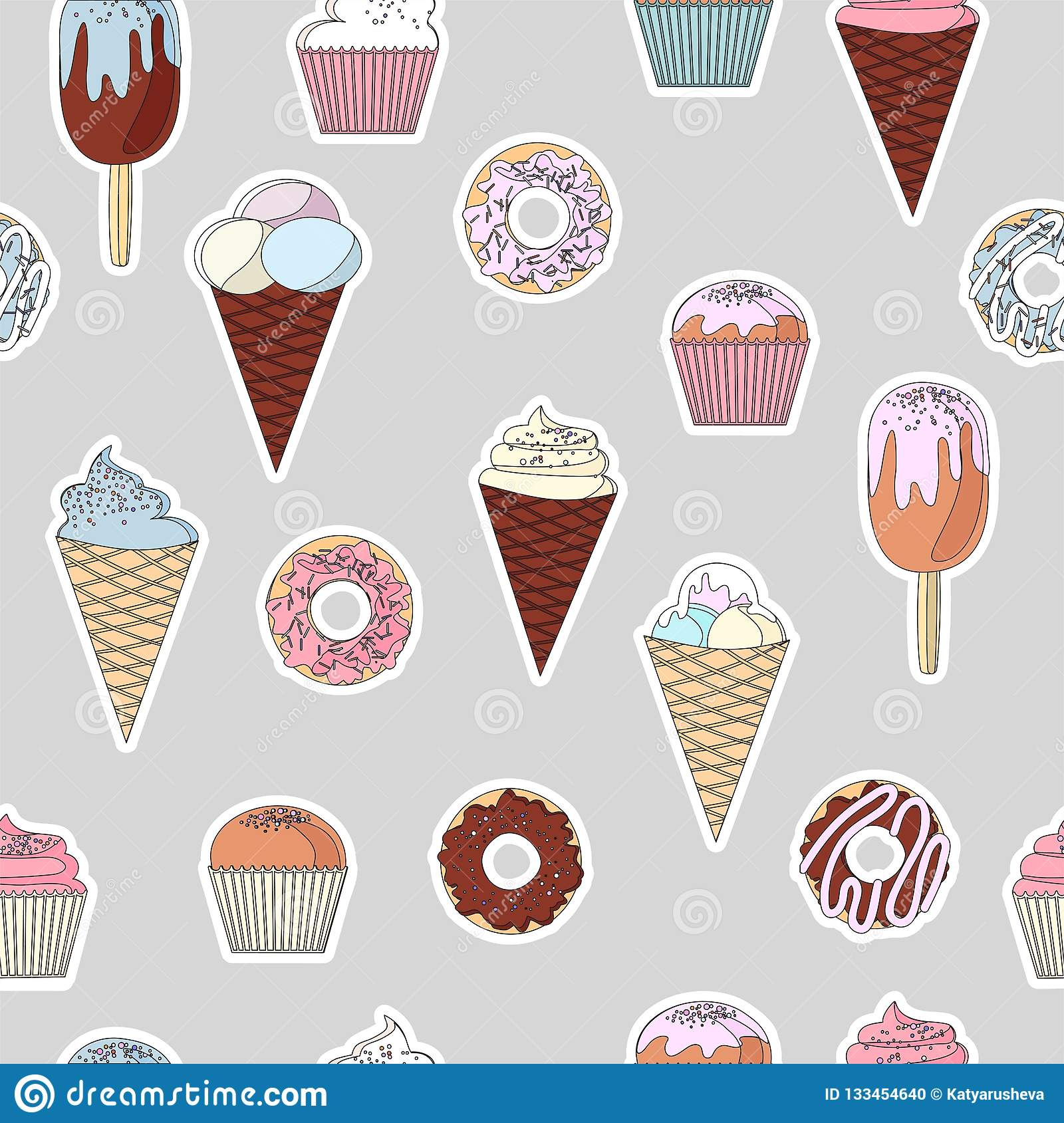 Awesome Pattern From A Set Of Colorful Delicious Cupcakes Cakes Desserts Funny Birthday Cards Online Inifofree Goldxyz