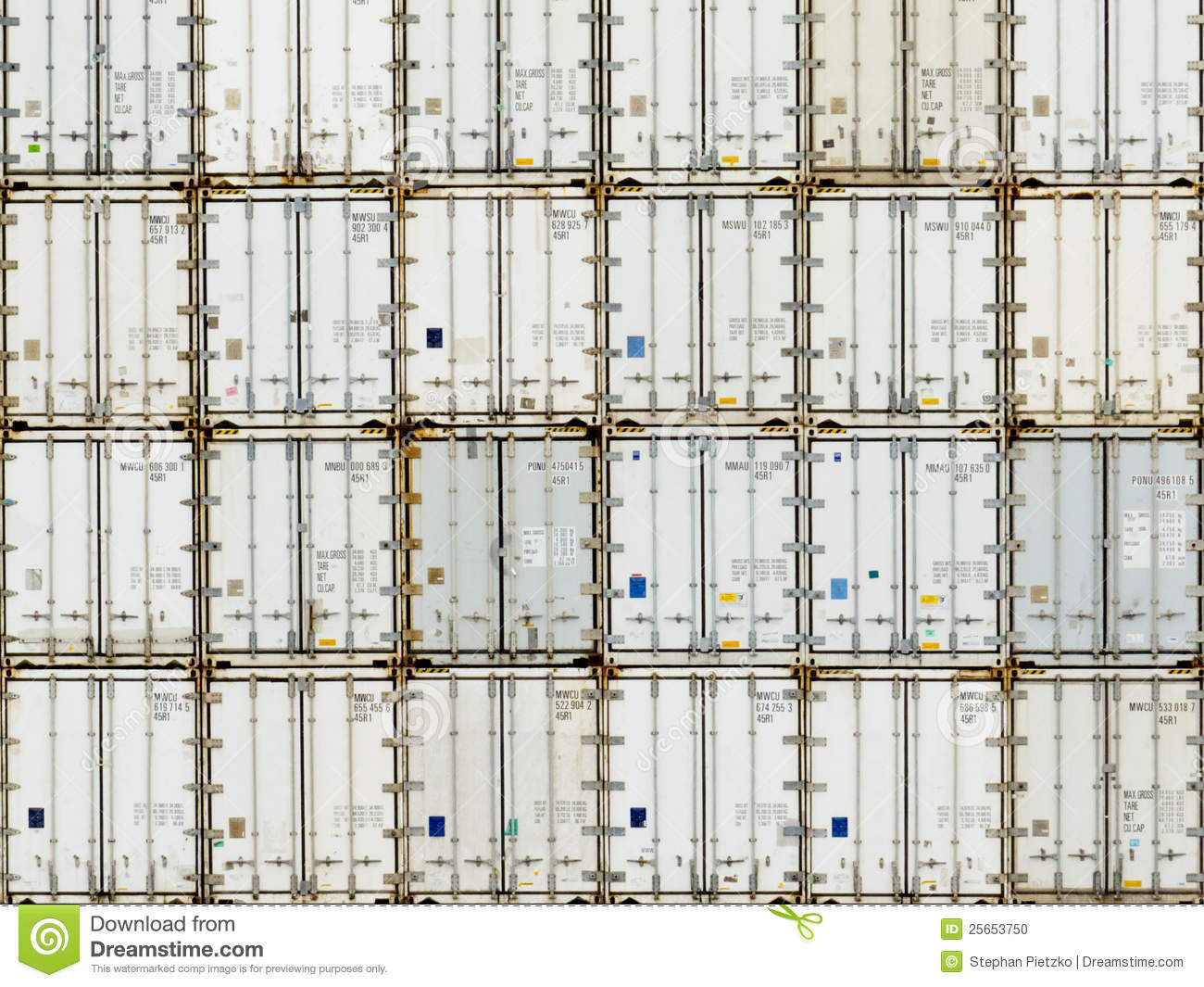 Pattern Of Shipping Container Stack At Depot Stock Photo - Image ...