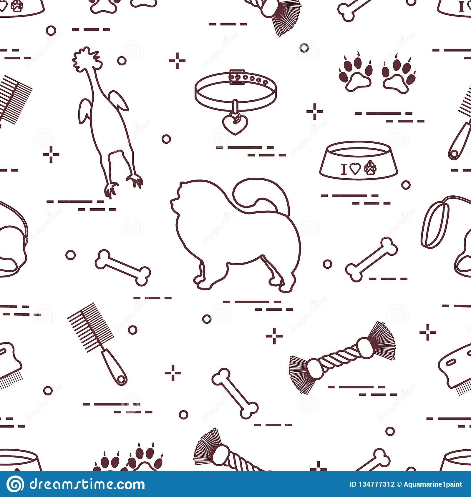 Pattern of silhouette chow-chow dog, bowl, bone, brush, comb, toys and other items to care for pet