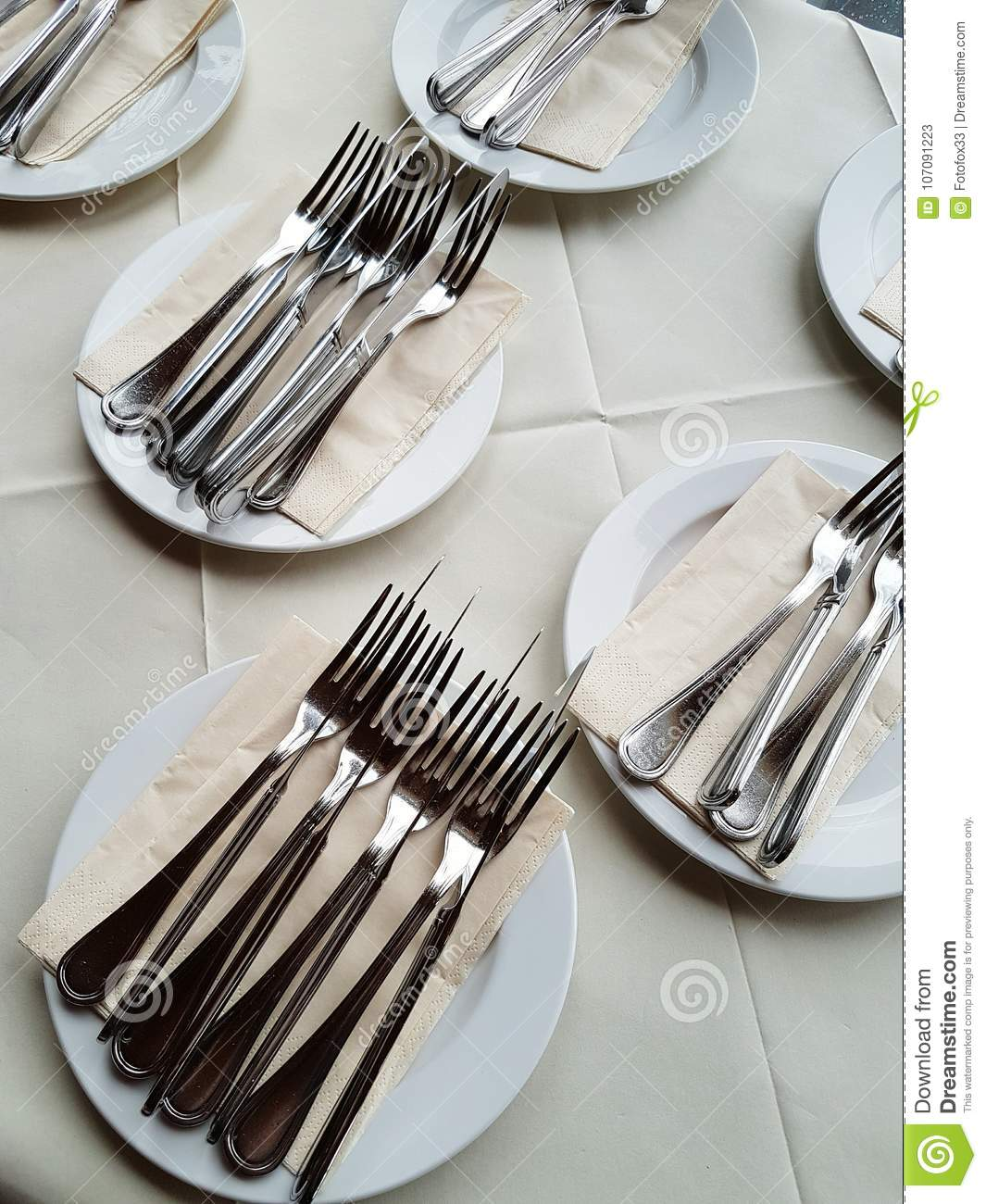 Silver cutlery for luxurious dinner