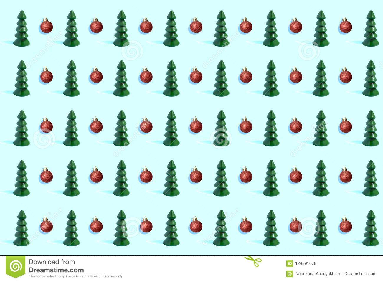 Pattern Of Small Wooden Christmas Trees And Red Christmas Balls Stock Illustration Illustration Of Green Craft 124891078