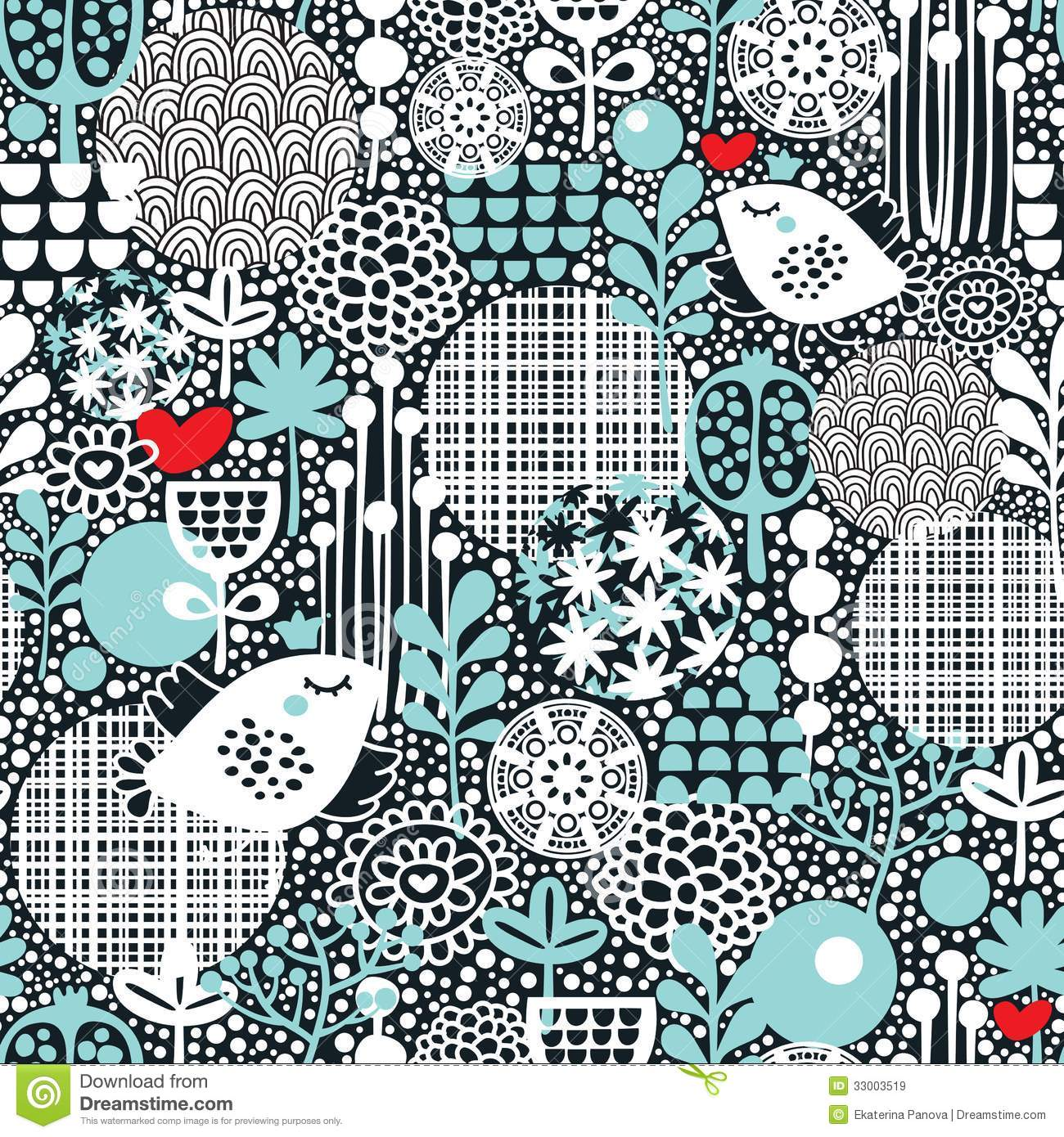 Pattern with snow birds, hearts and flowers.