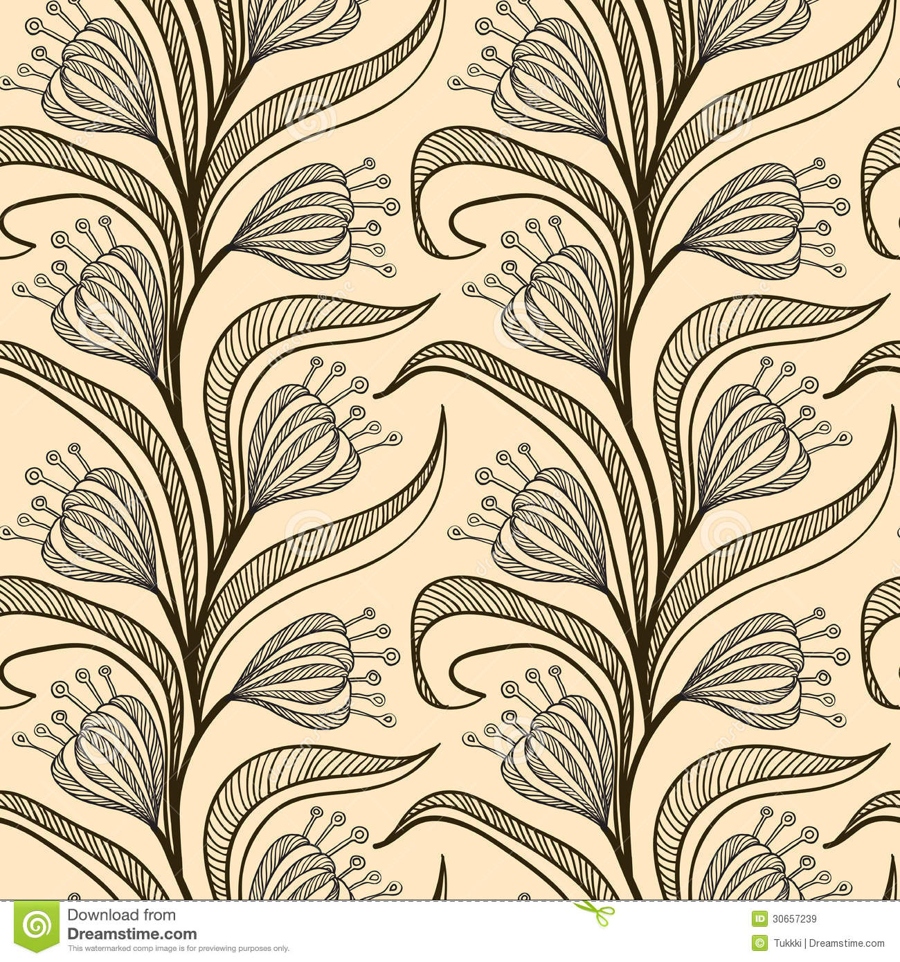 Pattern With Stylized Drawings Of Flowers Royalty Free ...