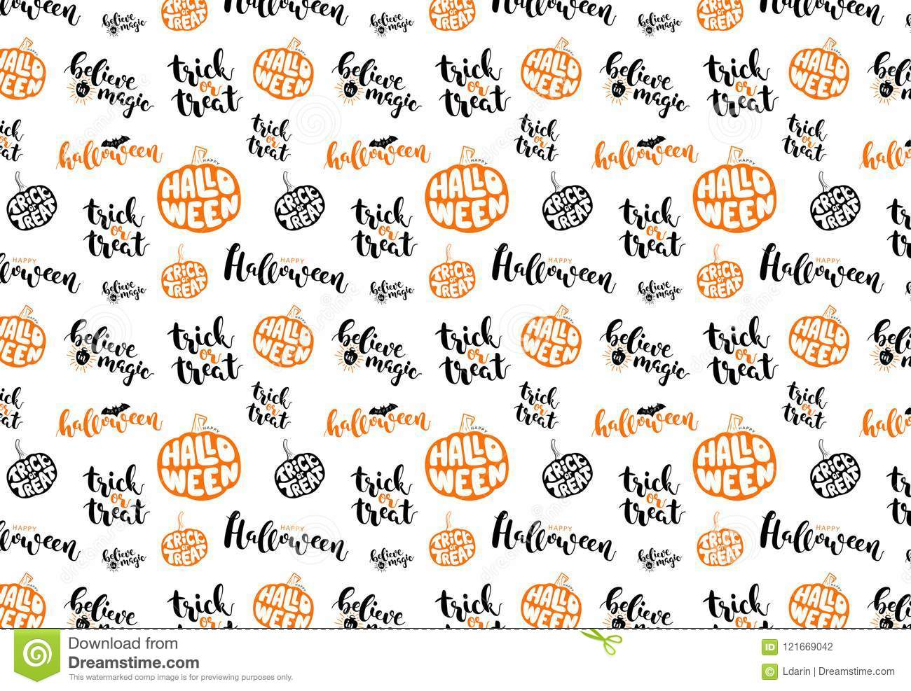 Pattern With Symbols Of Halloween Orange Ang Black Text On White