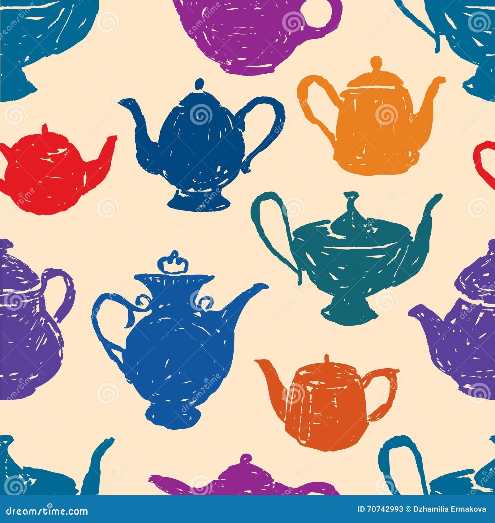 Pattern of the tea pots stock vector. Illustration of ...