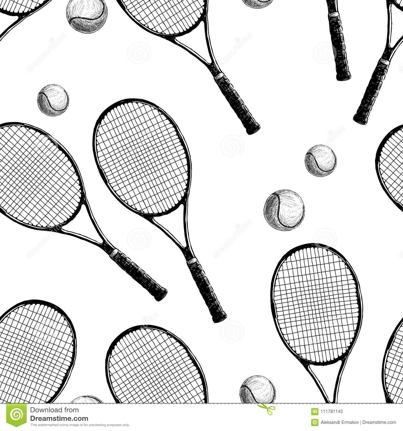 Pattern of tennis rackets with balls