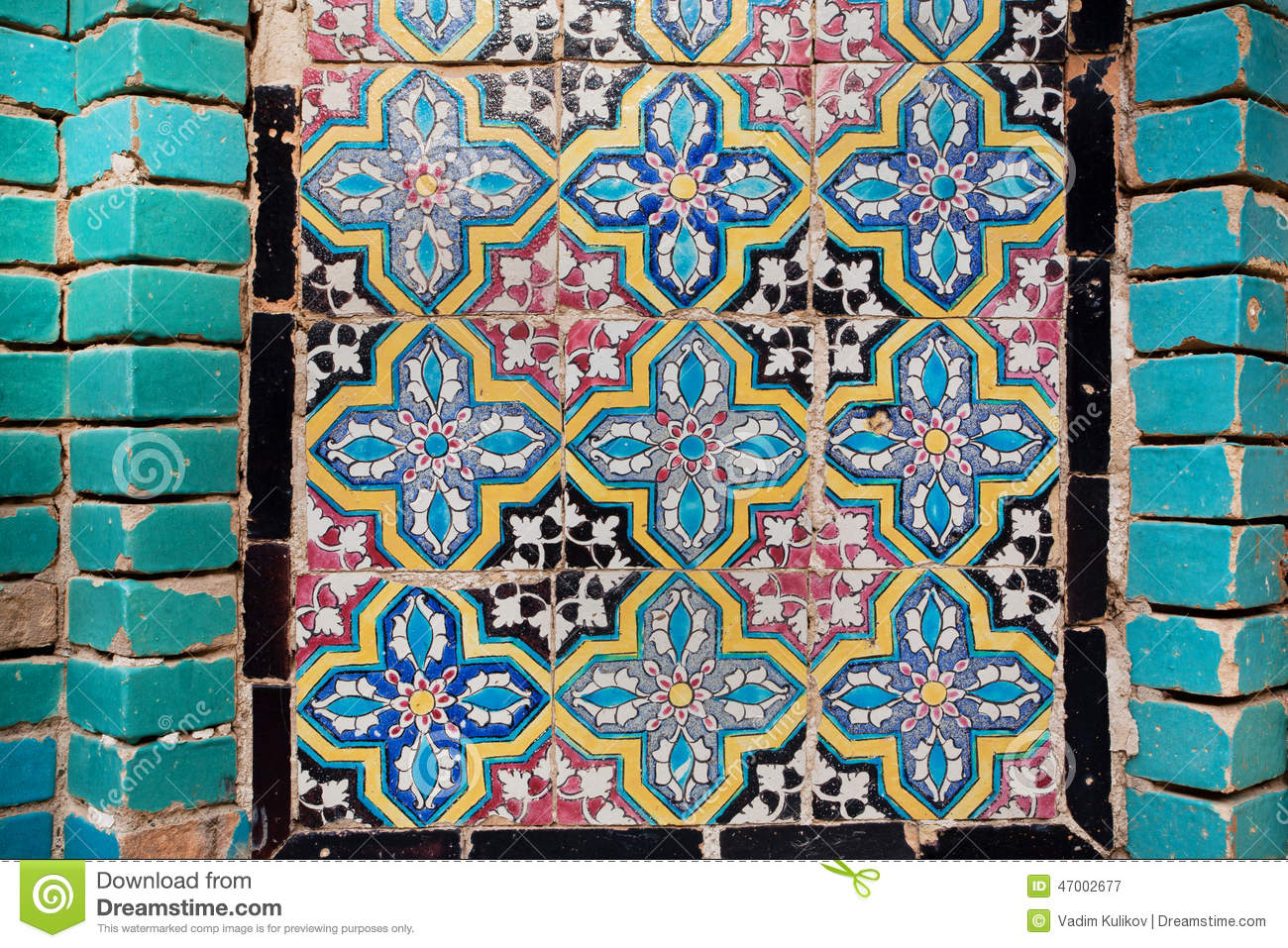 Pattern On The Tile Of The Wall Of A Persian Building In Iran Stock ...