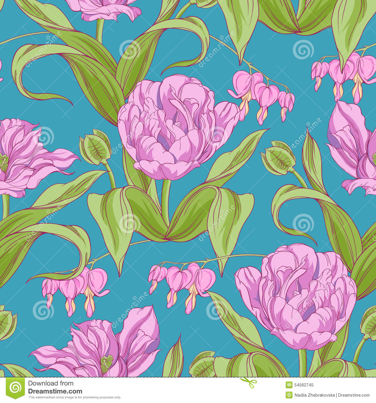 pattern of tulip flowers with leaves stock vector