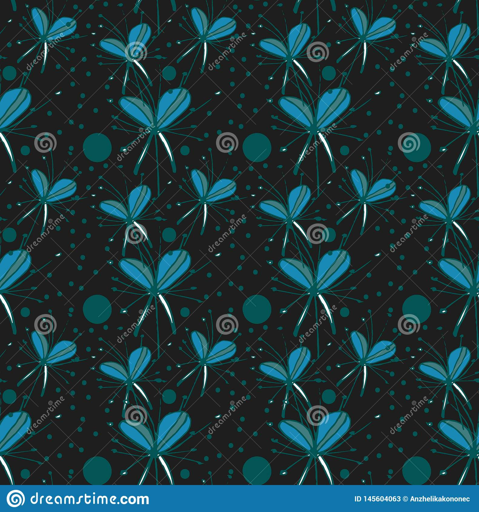 Pattern turquoise abstract flowers on black background