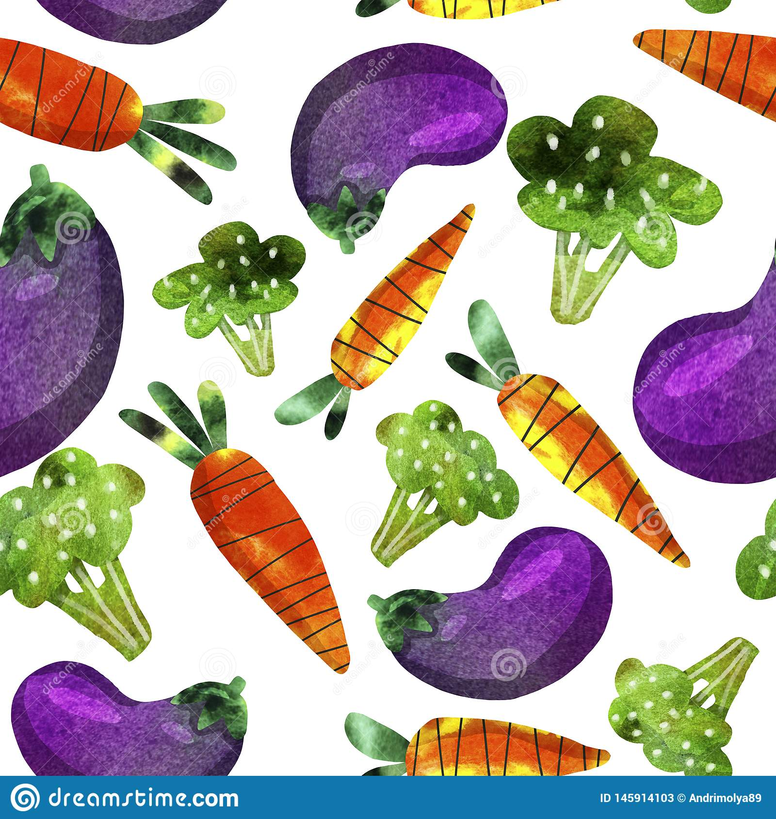 Pattern with vegetables, carrots, broccoli and eggplant
