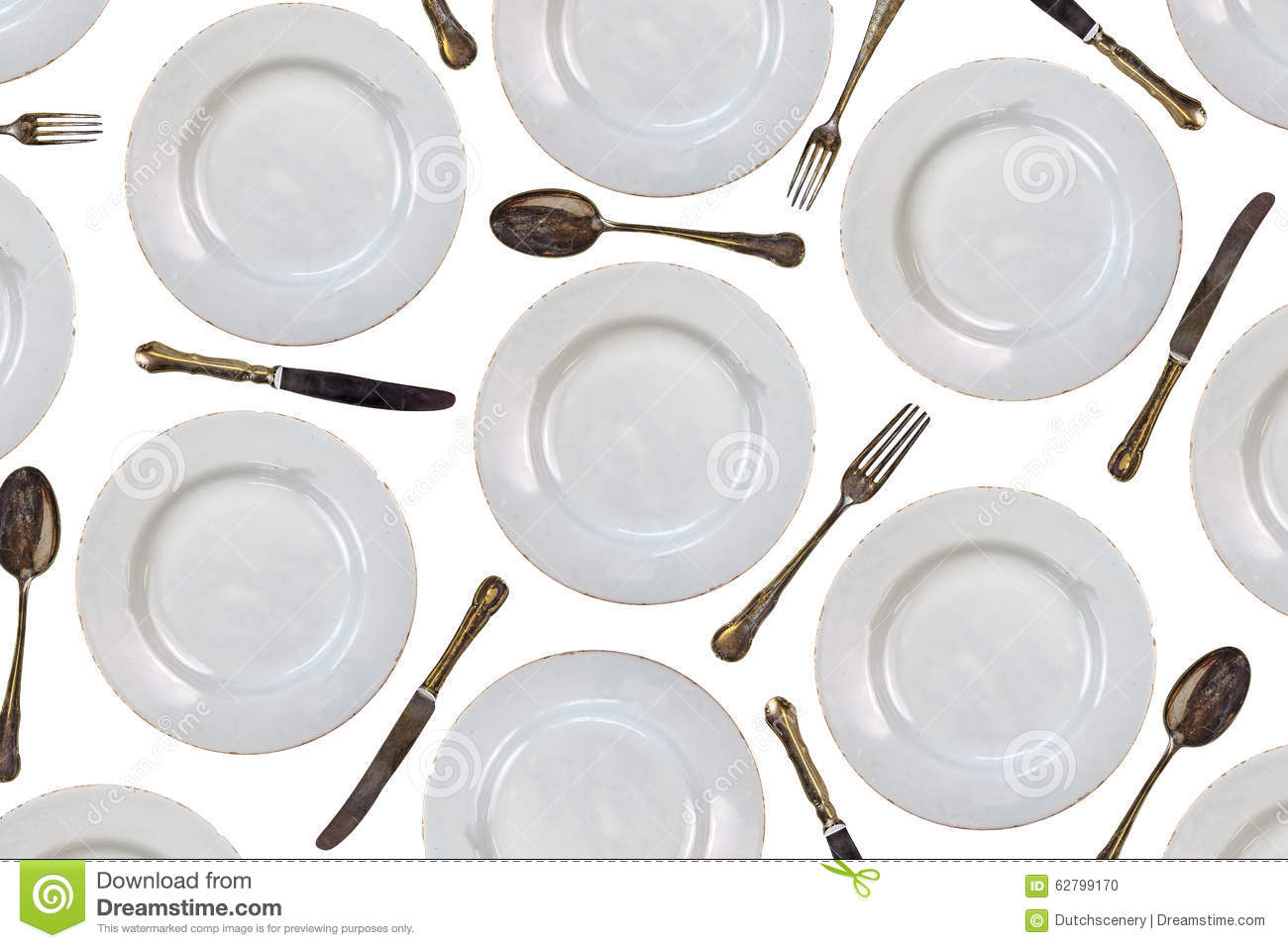 Royalty-Free Stock Photo  sc 1 st  Dreamstime.com & Pattern Of Vintage Dinner Plates Knives Forks And Spoons Stock ...