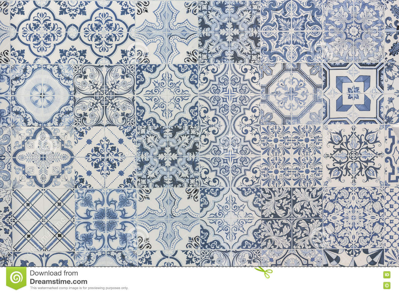 Pattern Of Vintage Style Wall Tile Texture Stock Photo