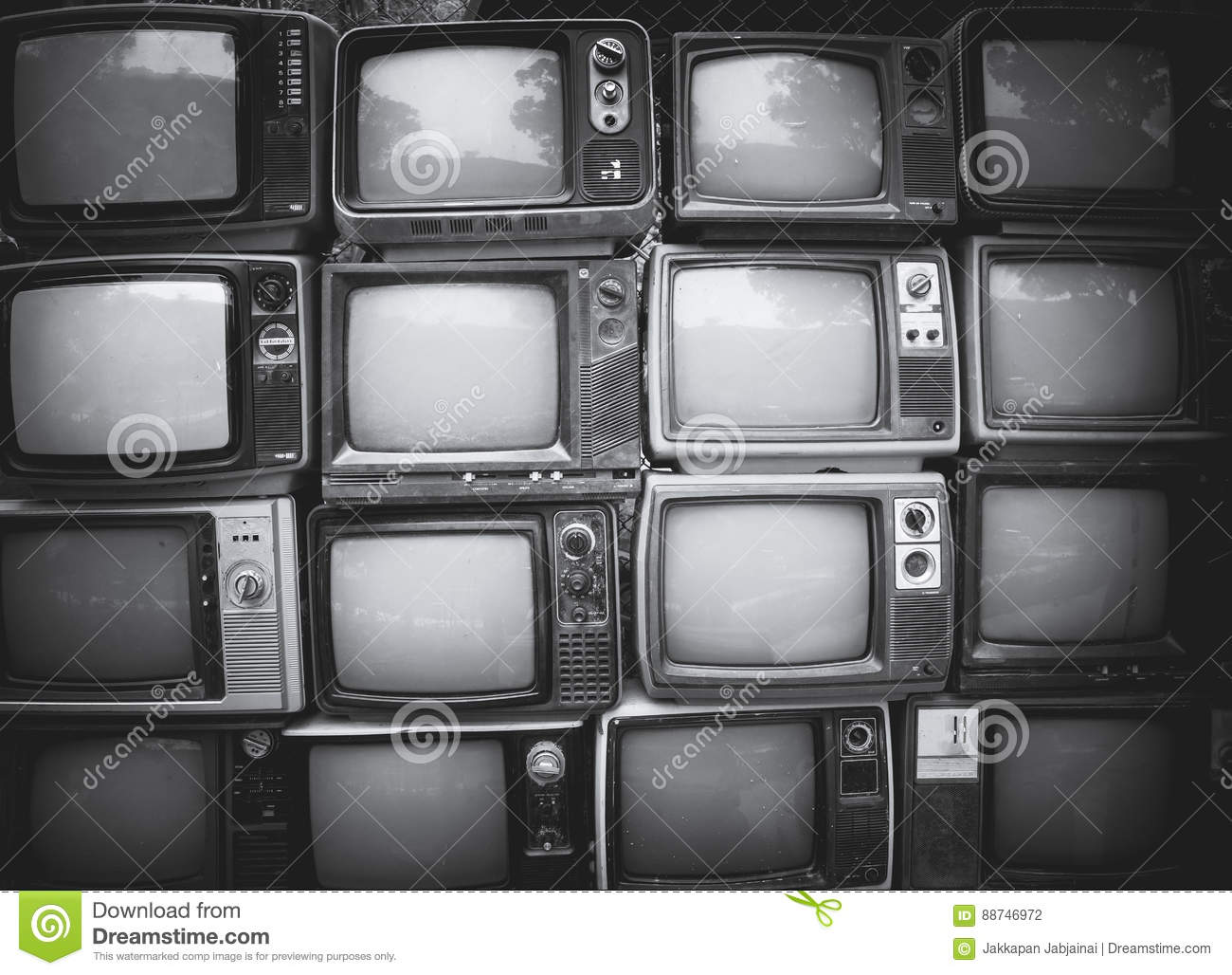 Pattern wall of pile black and white retro television