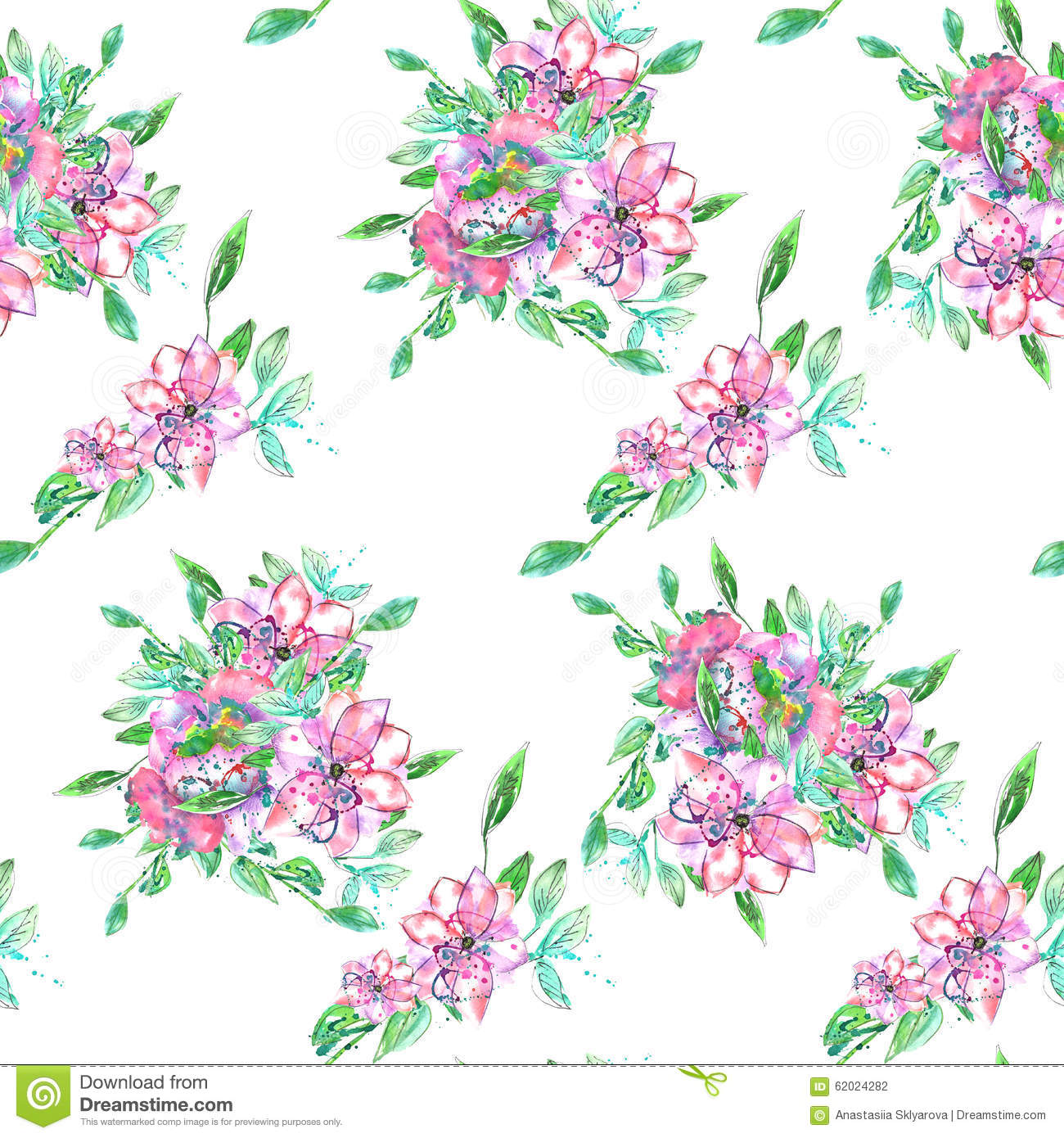 Pattern With Watercolor Bouquets Of Pink And Purple Flowers And