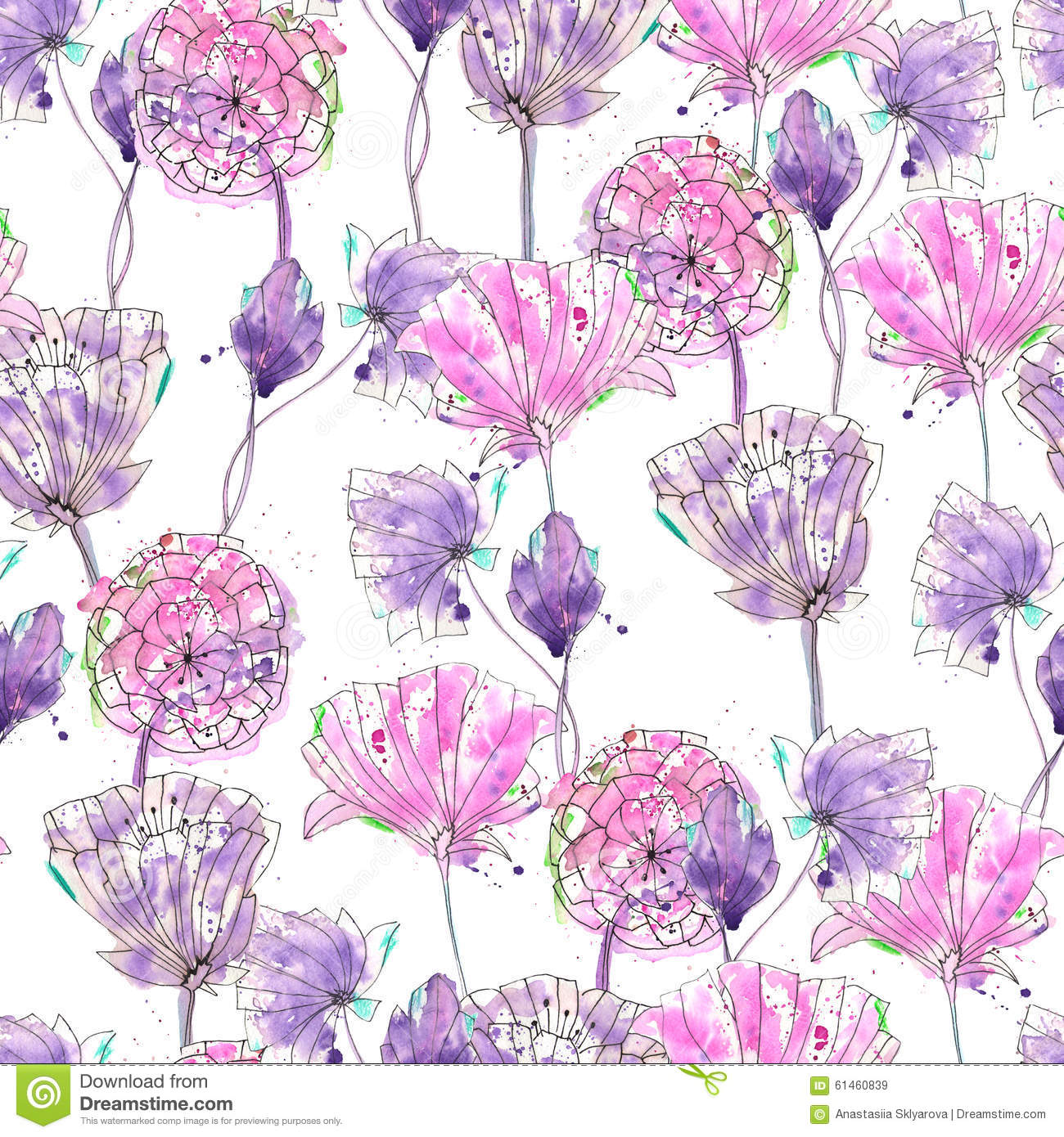 Pattern With Watercolor Purple Flowers Stock Illustration Illustration Of Lime Blots 61460839