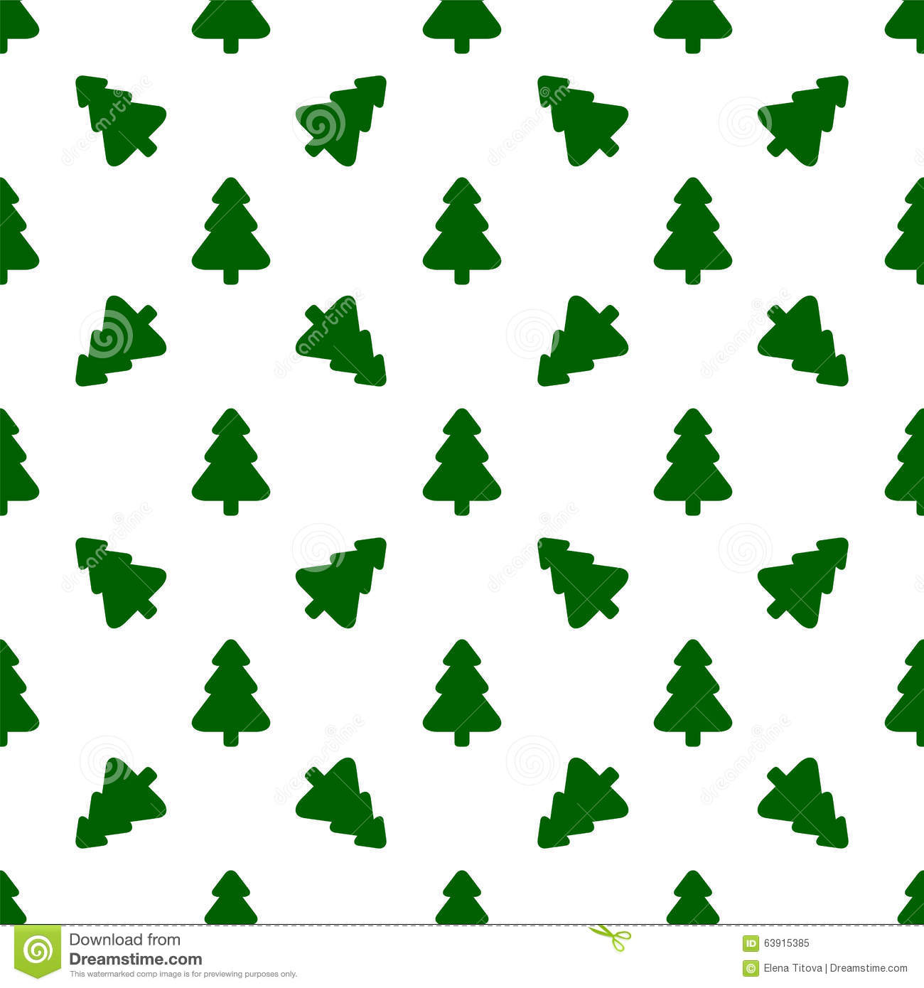 Pattern For Wrapping Paper. Green Christmas Tree Stock Vector ...