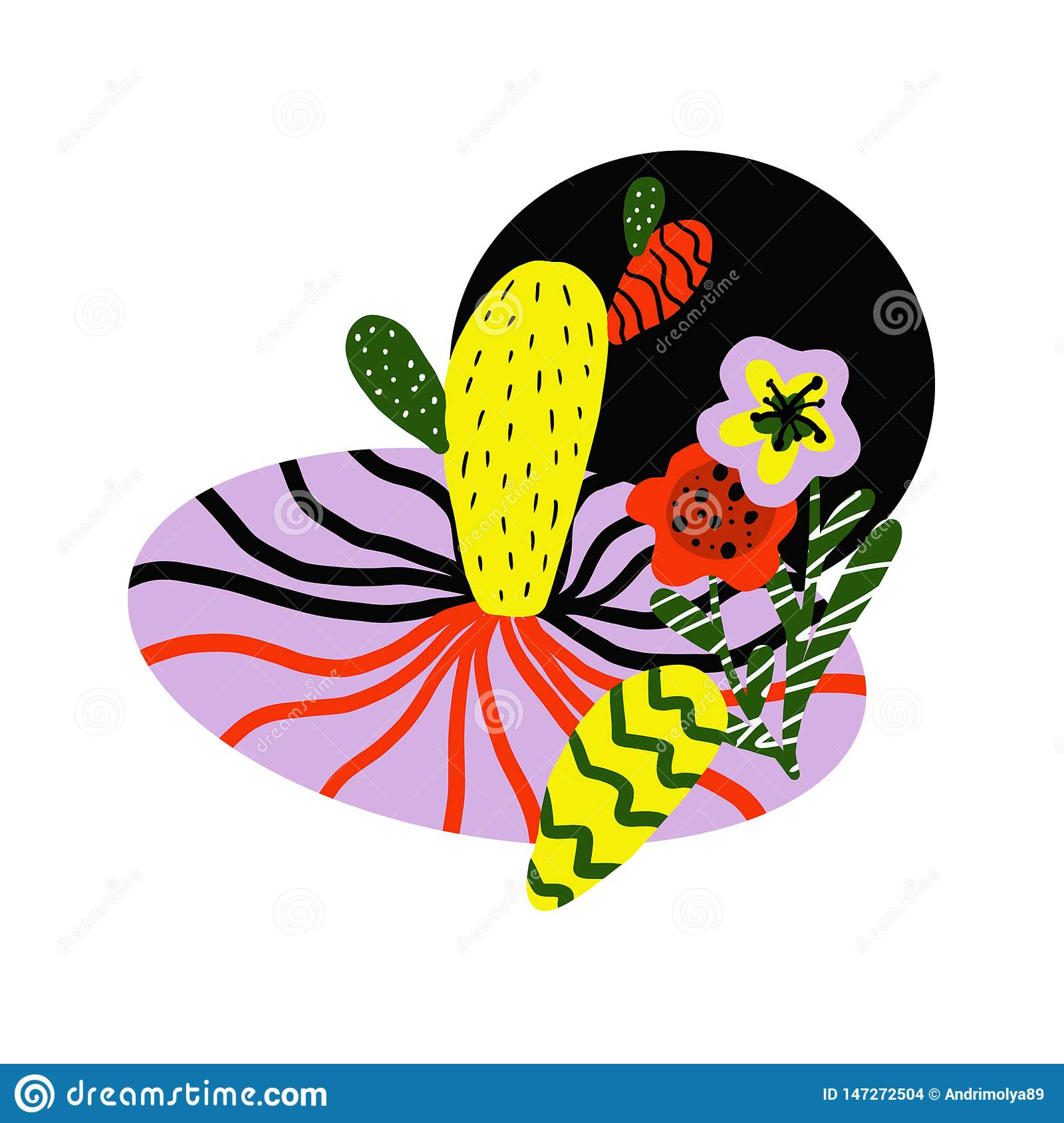 Pattern with yellow and red tropical flowers