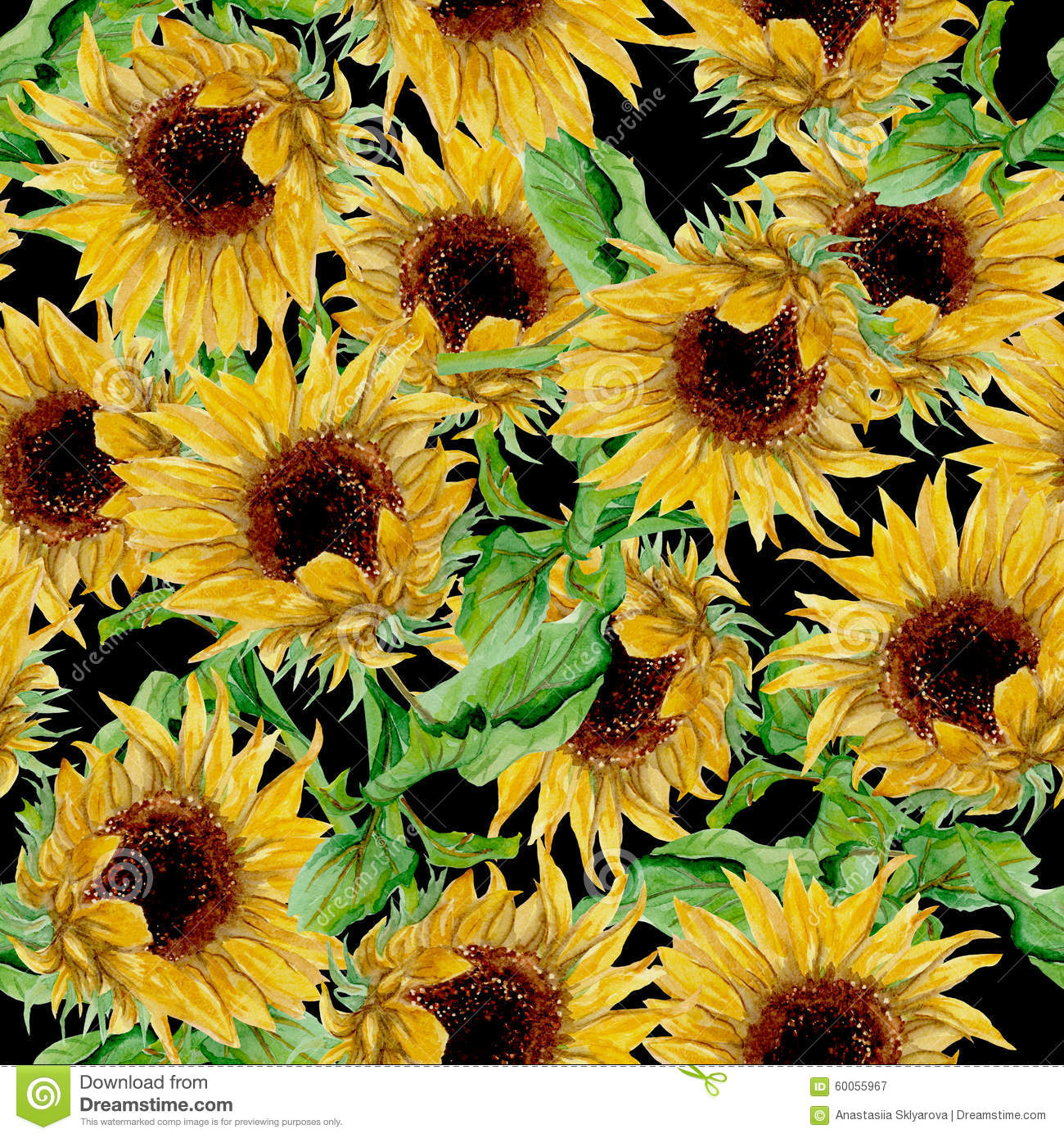 Pattern With Yellow Sunflowers Painted In Watercolor On A