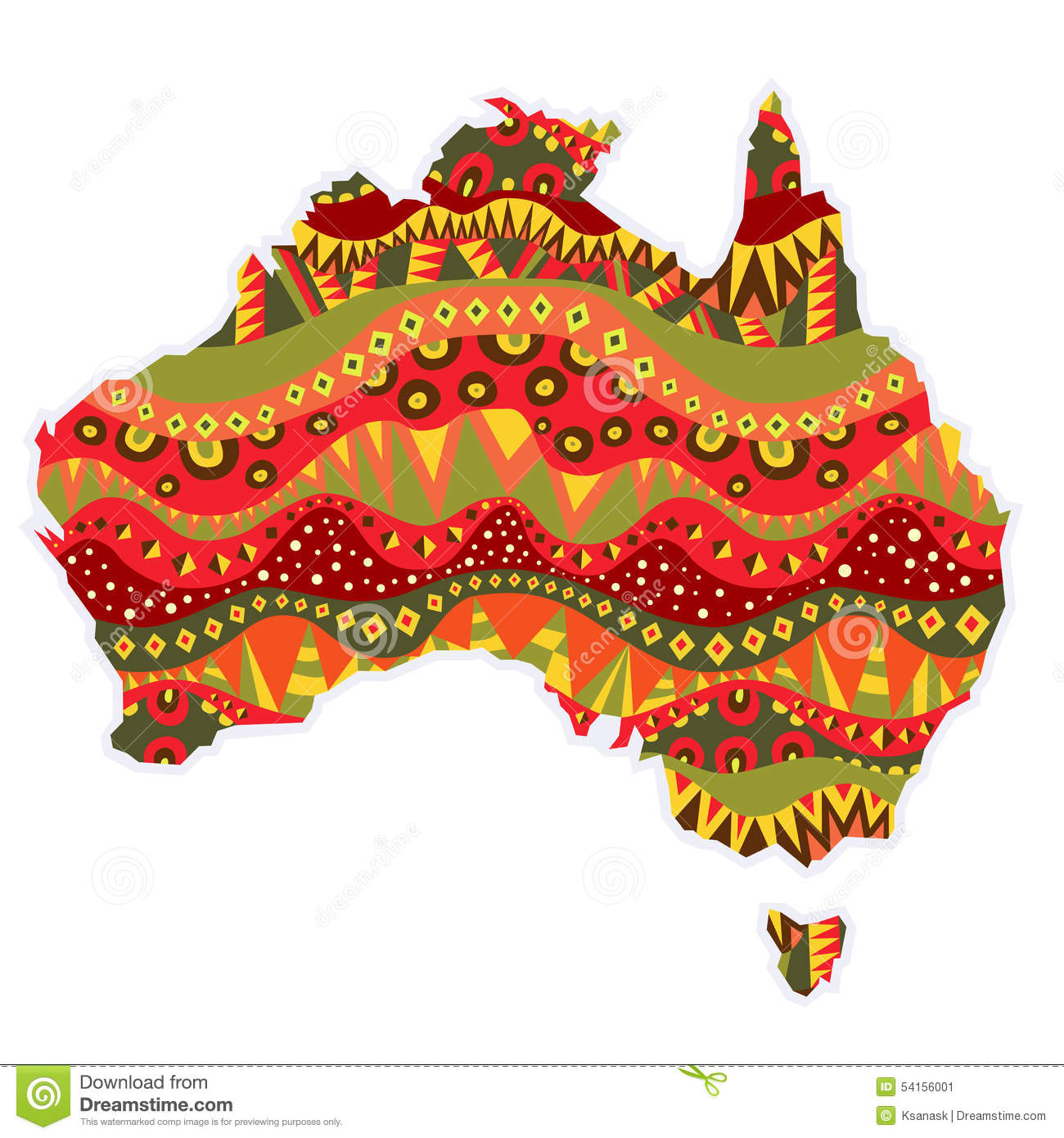 Patterned Australia Continent Stock Vector - Illustration of ...