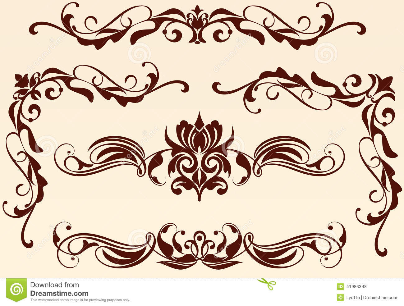 Patterned Borders Corners Stock Photo. Image Of Styles