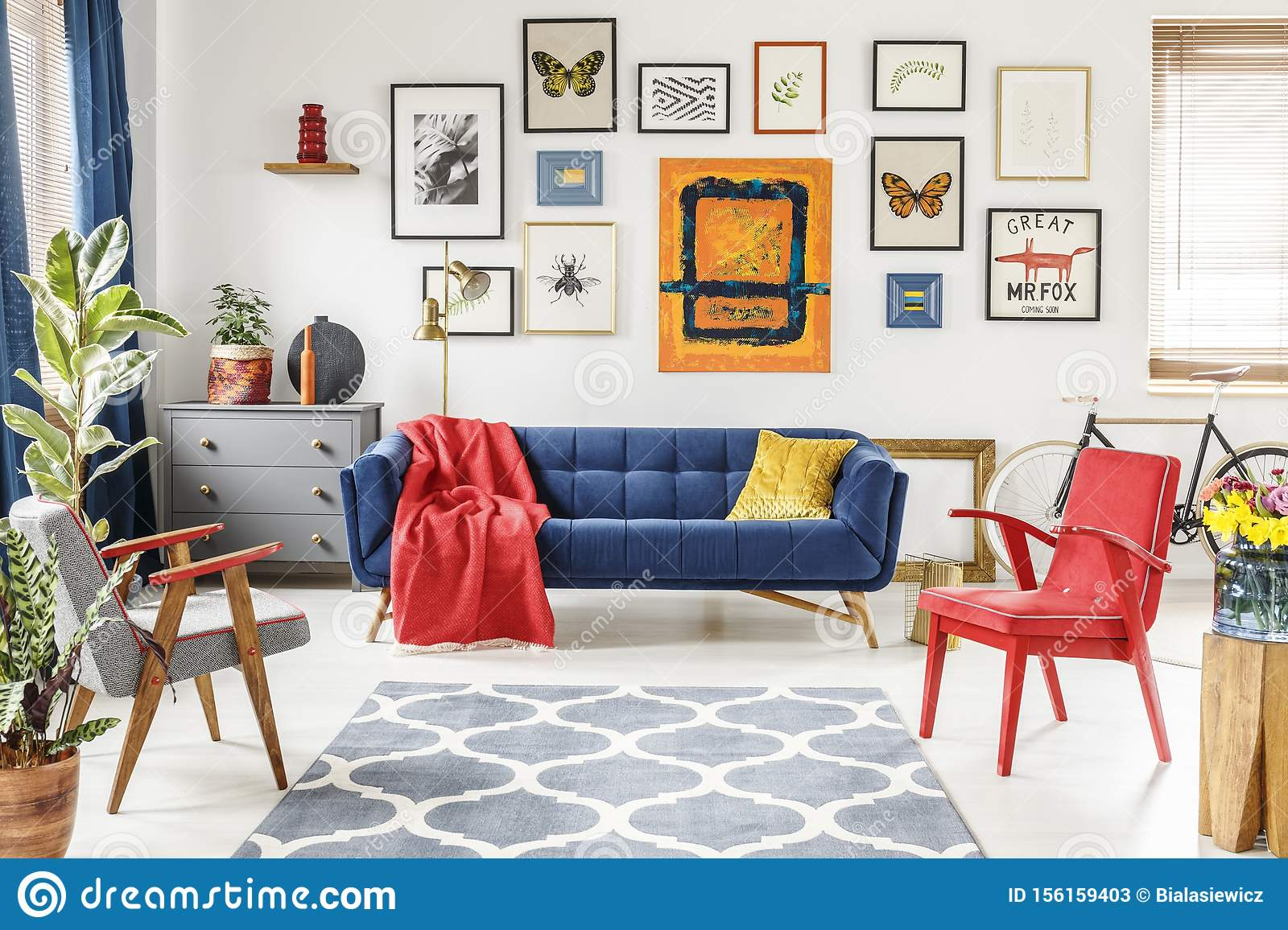 Patterned Carpet In Colorful Living Room Interior With Red Armch Stock Image Image Of Furniture Gallery 156159403