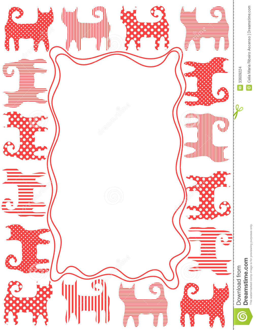 Patterned Cats Border Frame Stock Images - Image: 33609224
