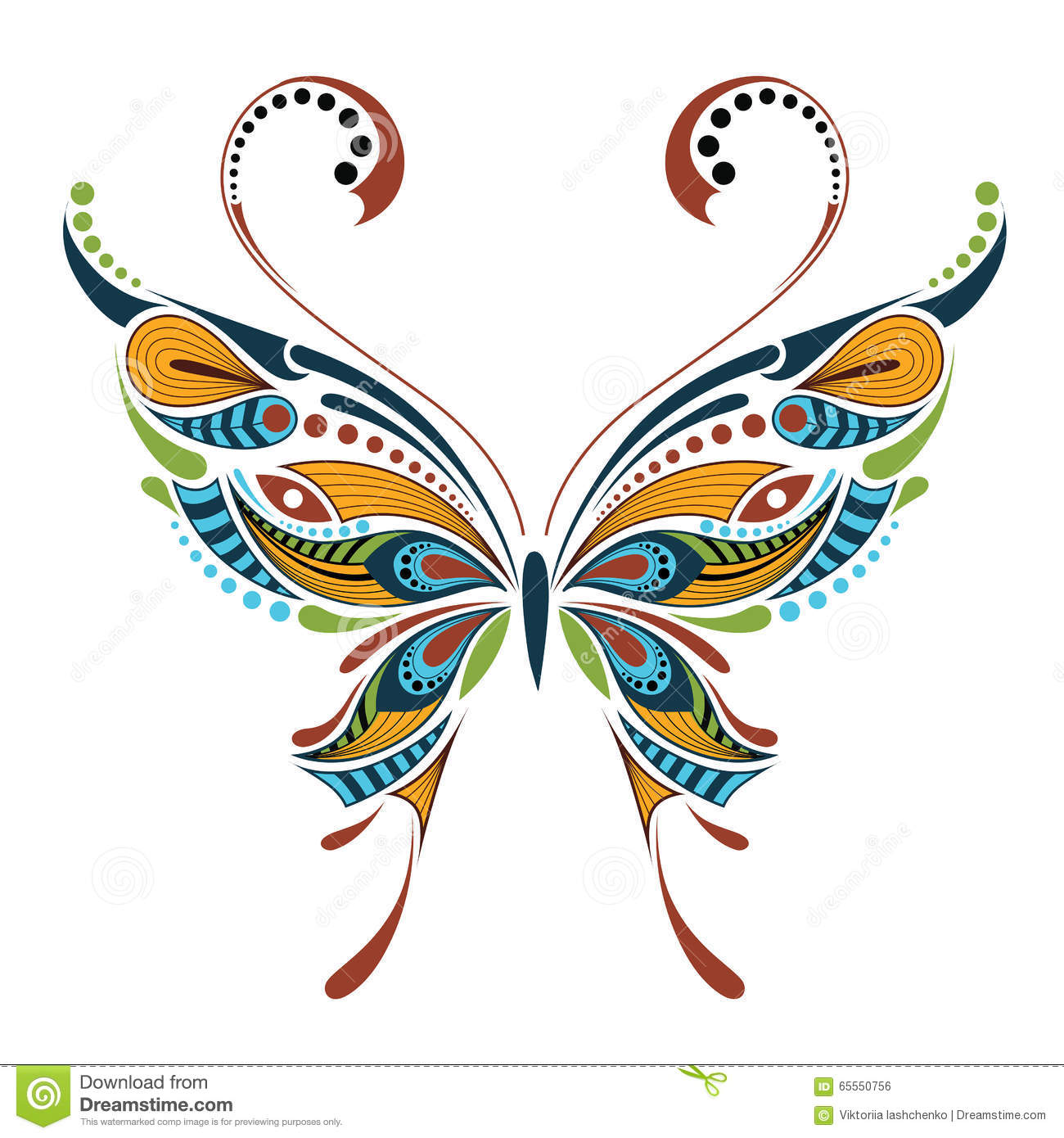 Patterned Colored Butterfly. African / Indian / Totem