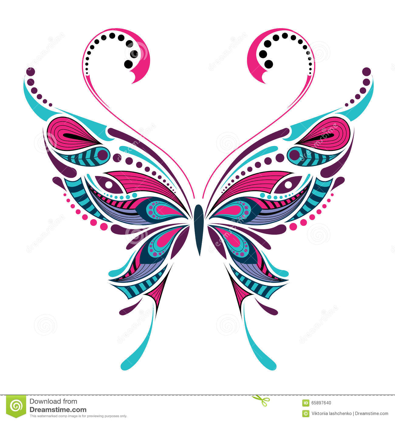 Patterned Colored Butterfly. African / Indian / Totem / Tattoo Design Stock Vector