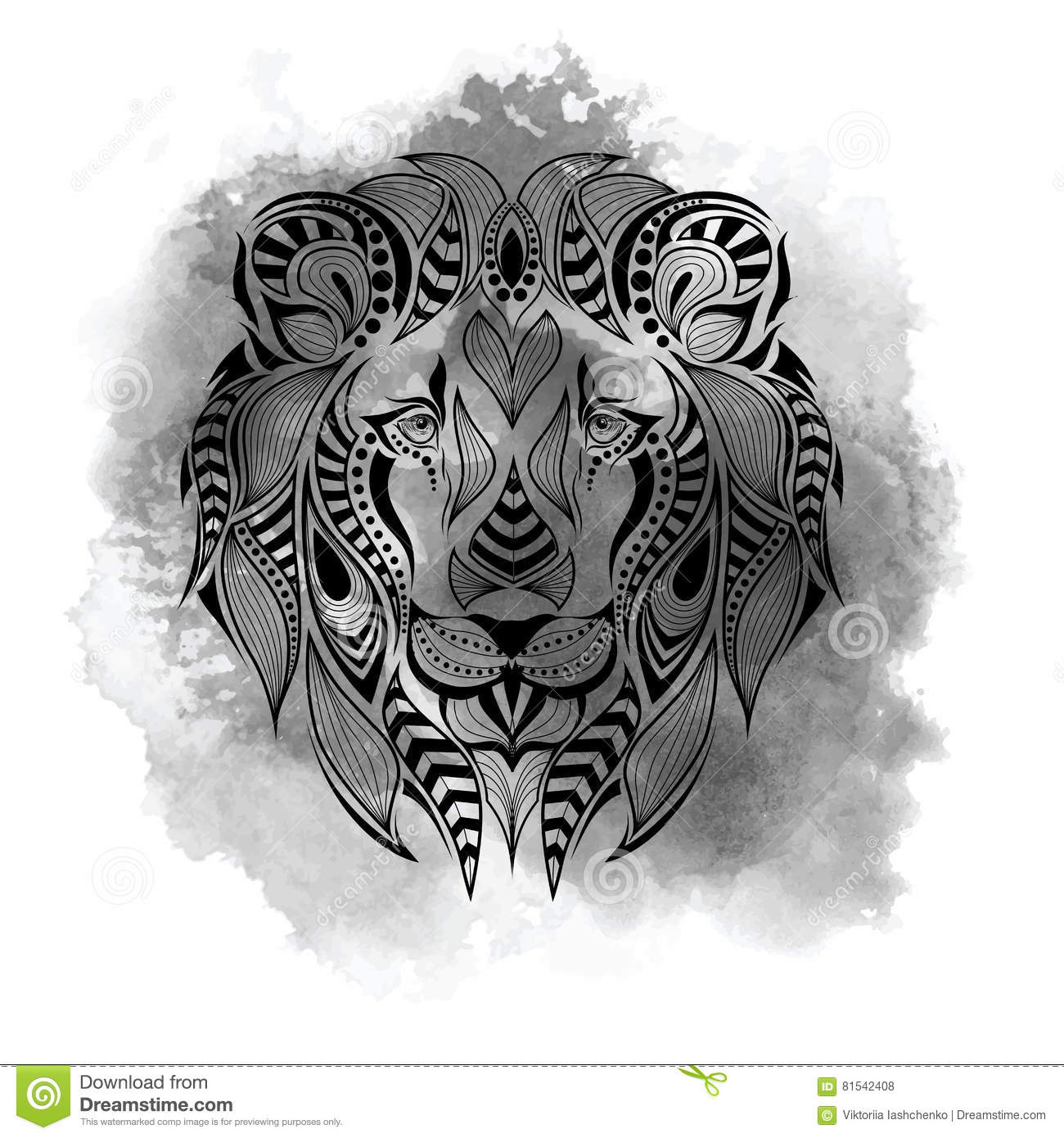 patterned colored head of the lion african indian totem tattoo design it may be used for. Black Bedroom Furniture Sets. Home Design Ideas