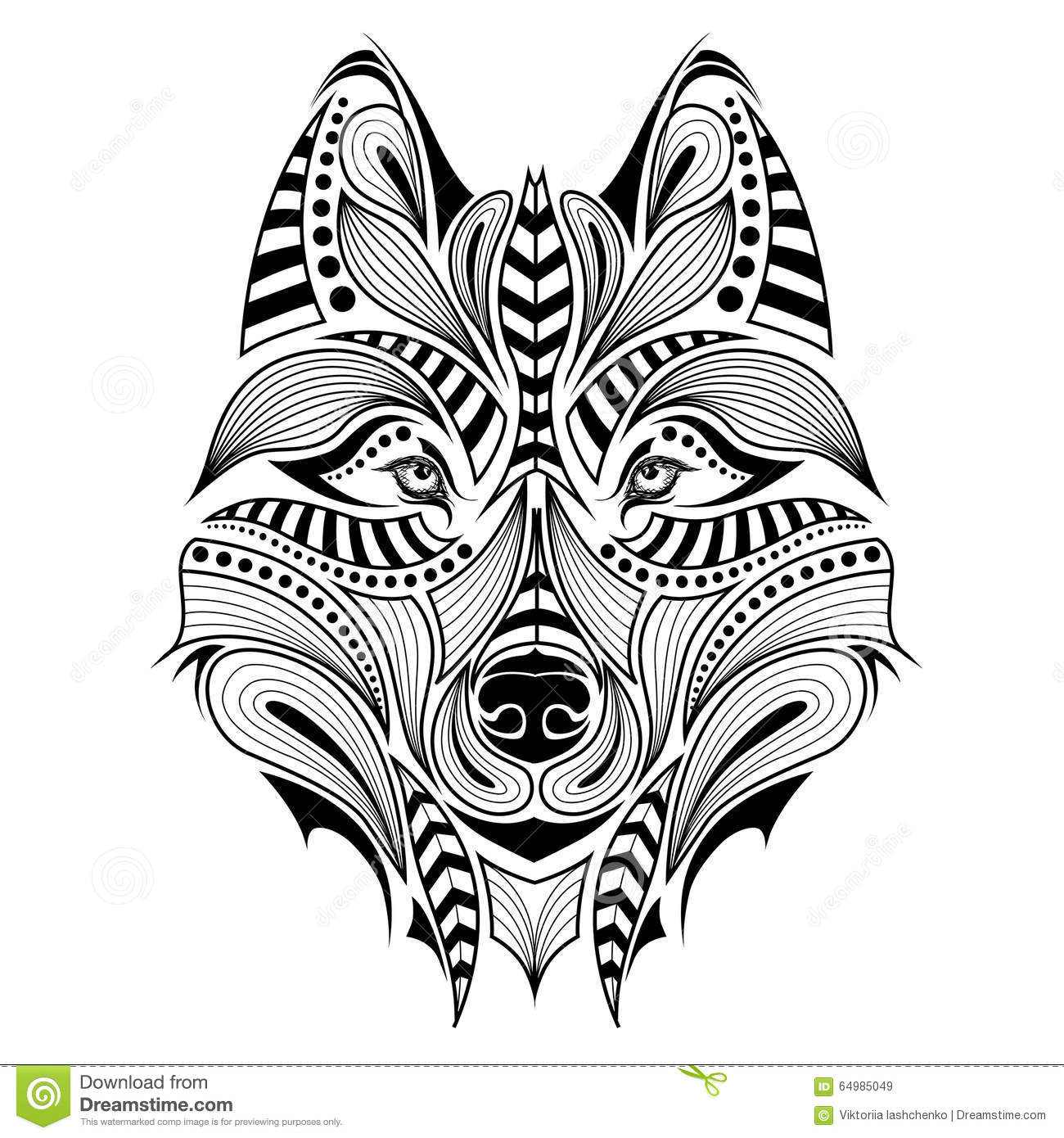 Patterned Colored Head Of The Wolf Stock Vector Image 64985049
