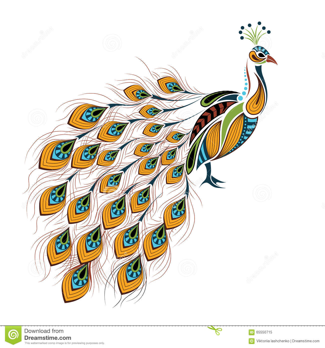 Patterned Colored Peacock. African / Indian / Totem / Tattoo Design Stock Vector