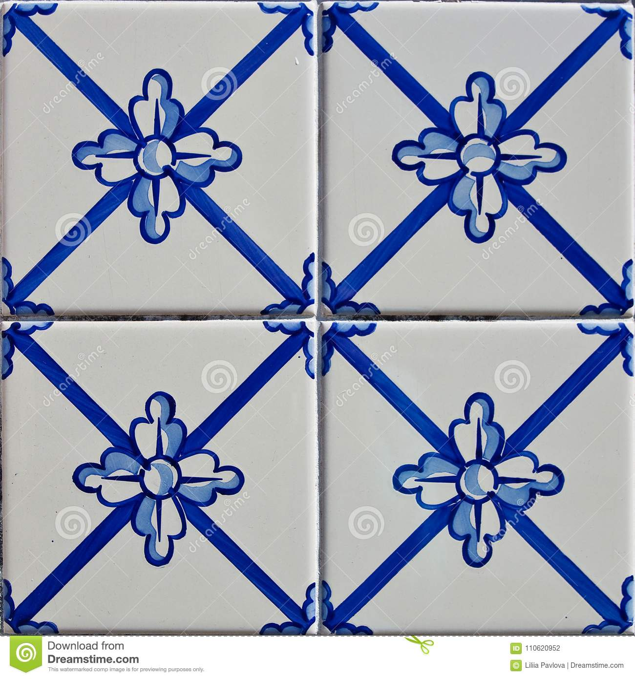 Patterned colored tiles on houses symbol of Lisbon. Abstract, ornament, European authentic style