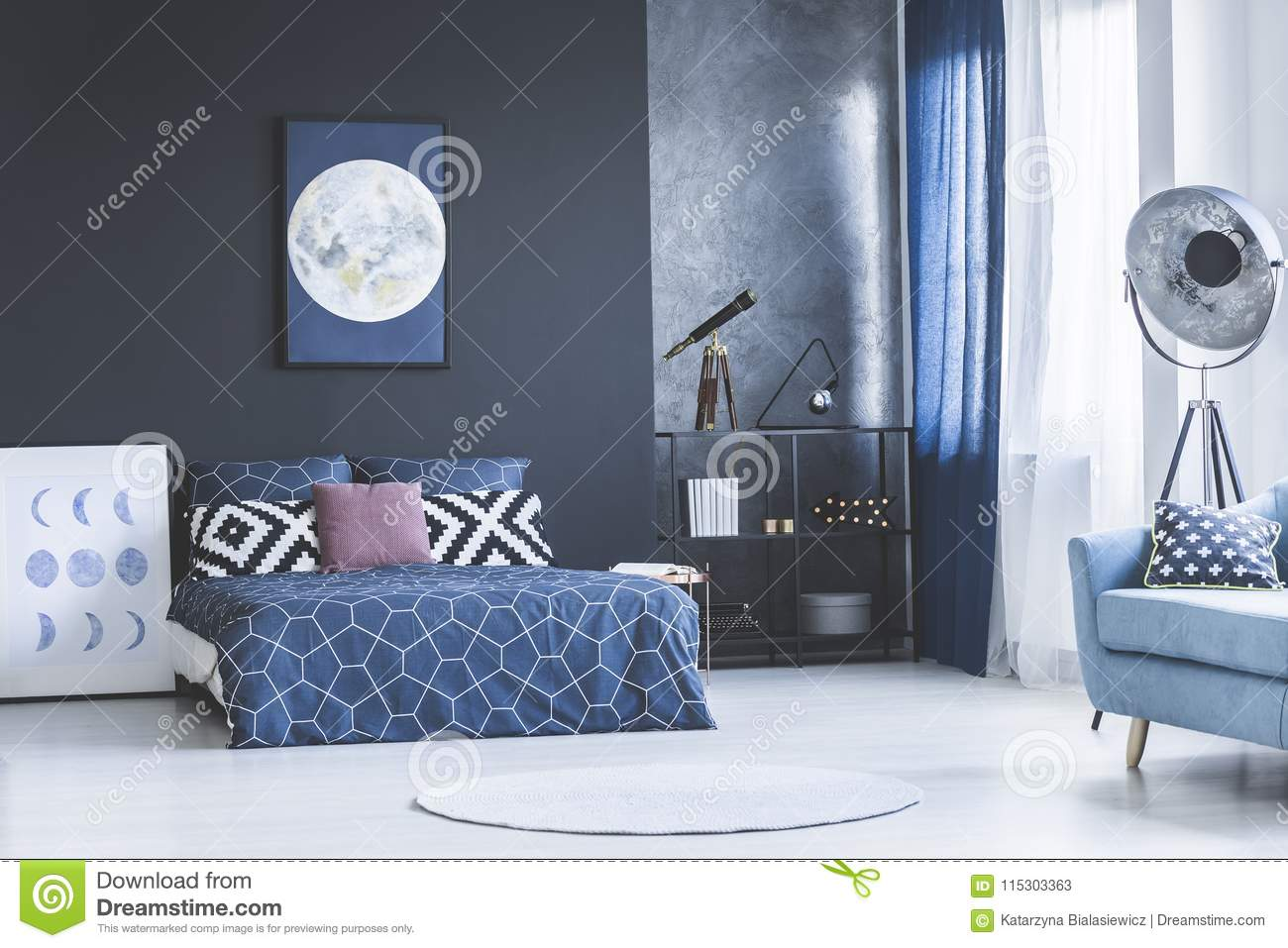 Navy blue bedroom interior