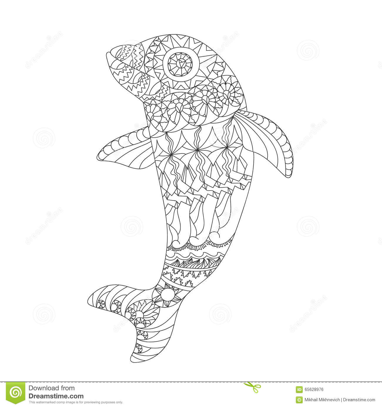 patterned dolphin zentangle style stock vector
