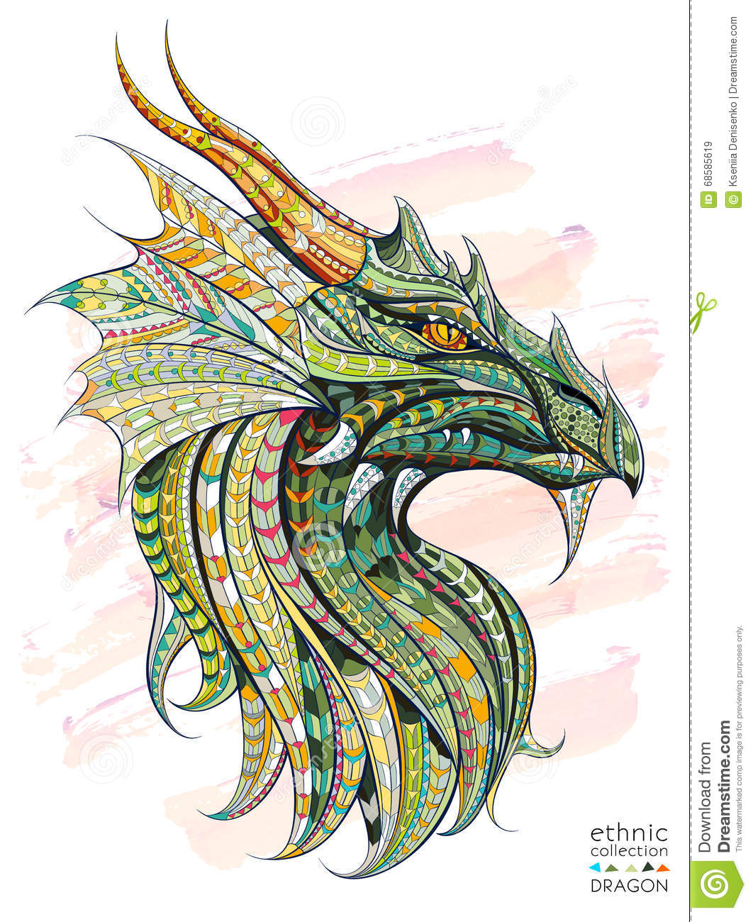 Patterned head of the dragon