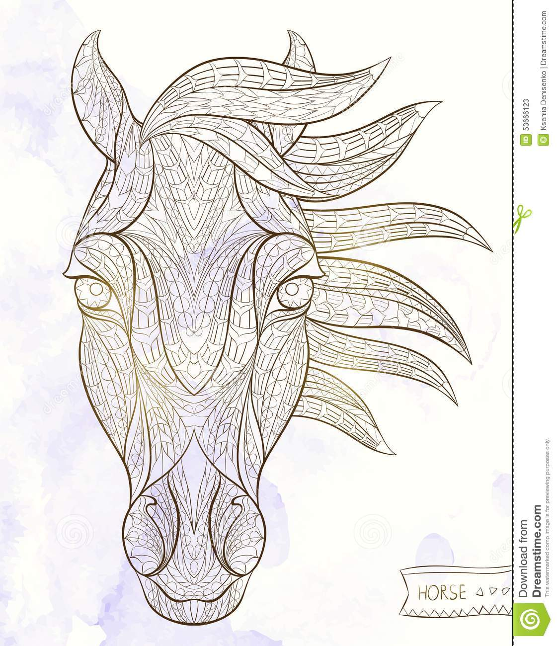 Patterned Head Of The Horse Stock Vector Image 53666123