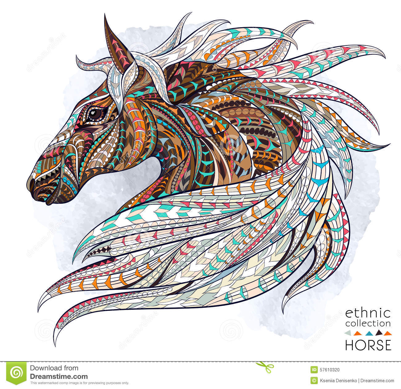 Patterned head of the horse