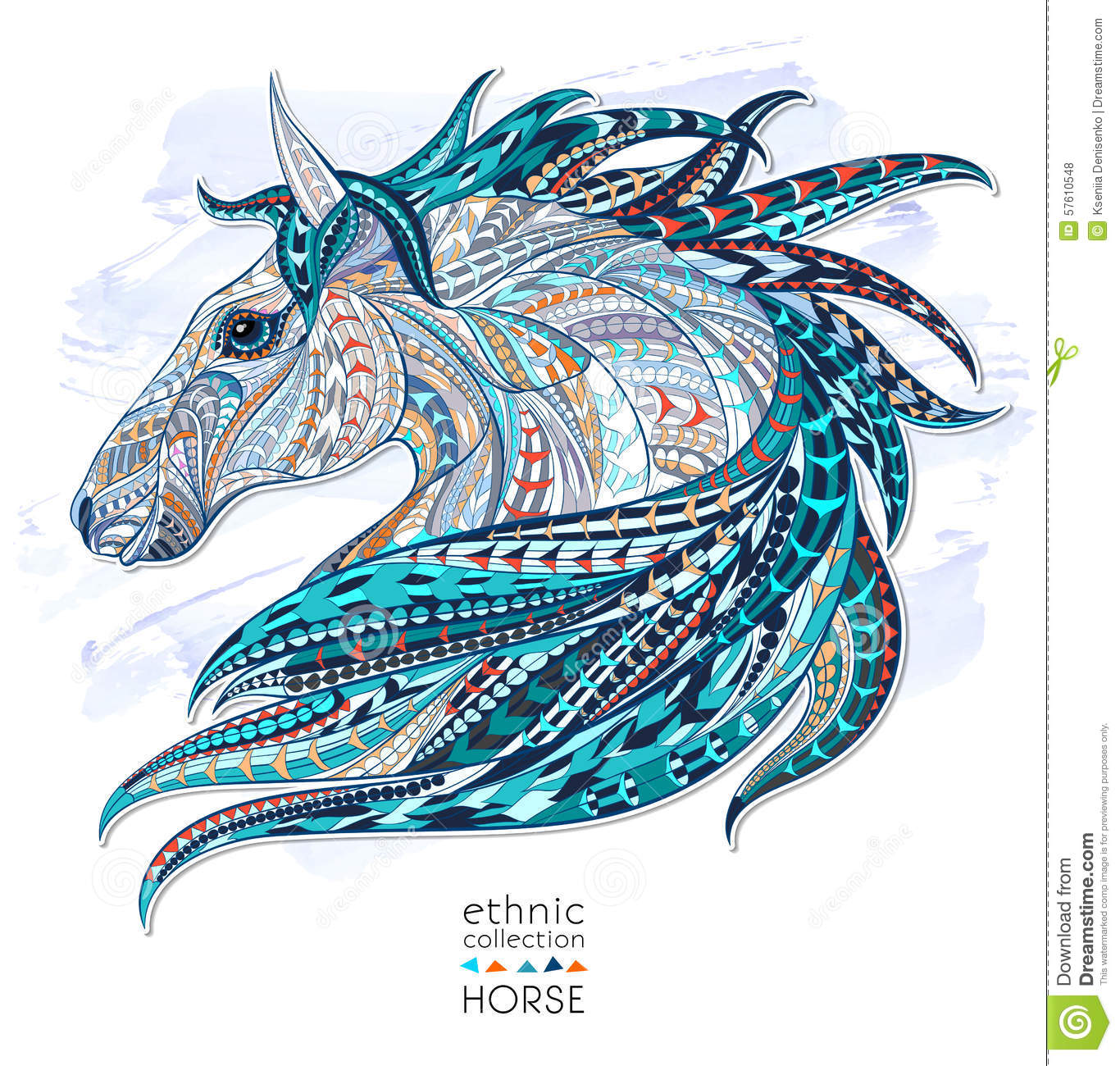 Patterned Head Of The Horse Stock Vector Illustration