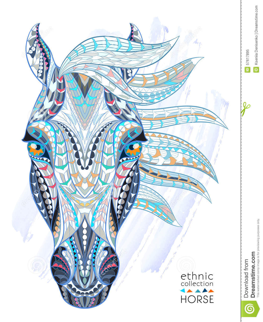 Patterned Head Of The Horse Stock Vector Image 57617895