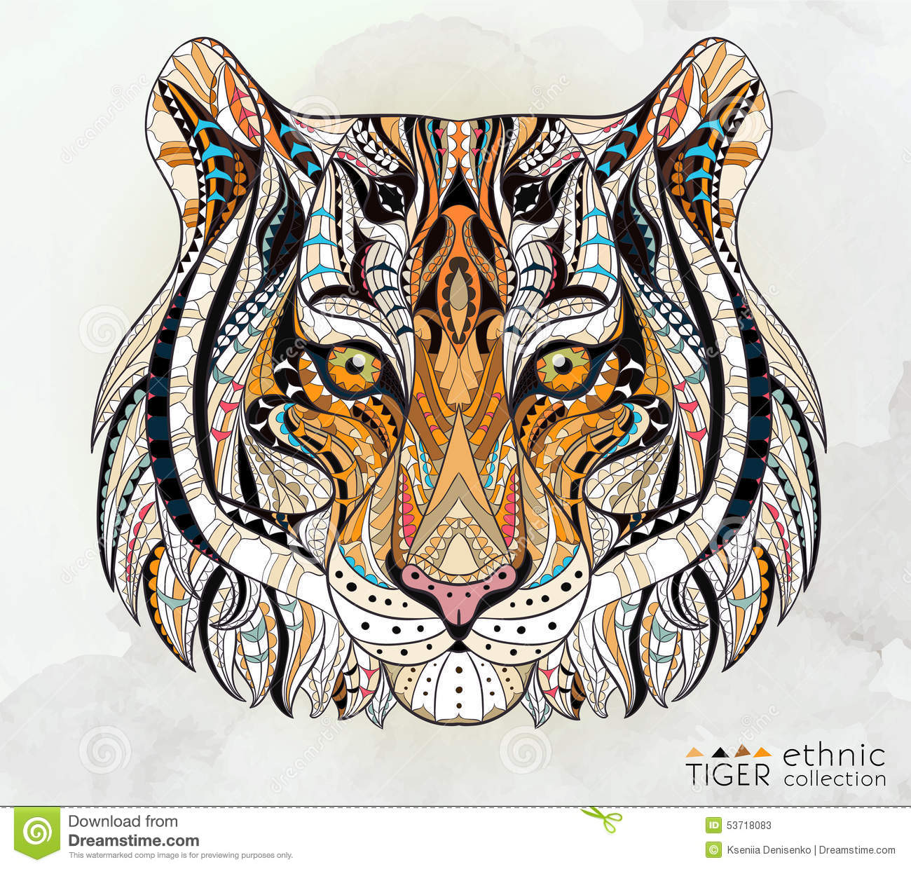 Patterned head of the tiger stock vector illustration of - Mandalas de tigres ...