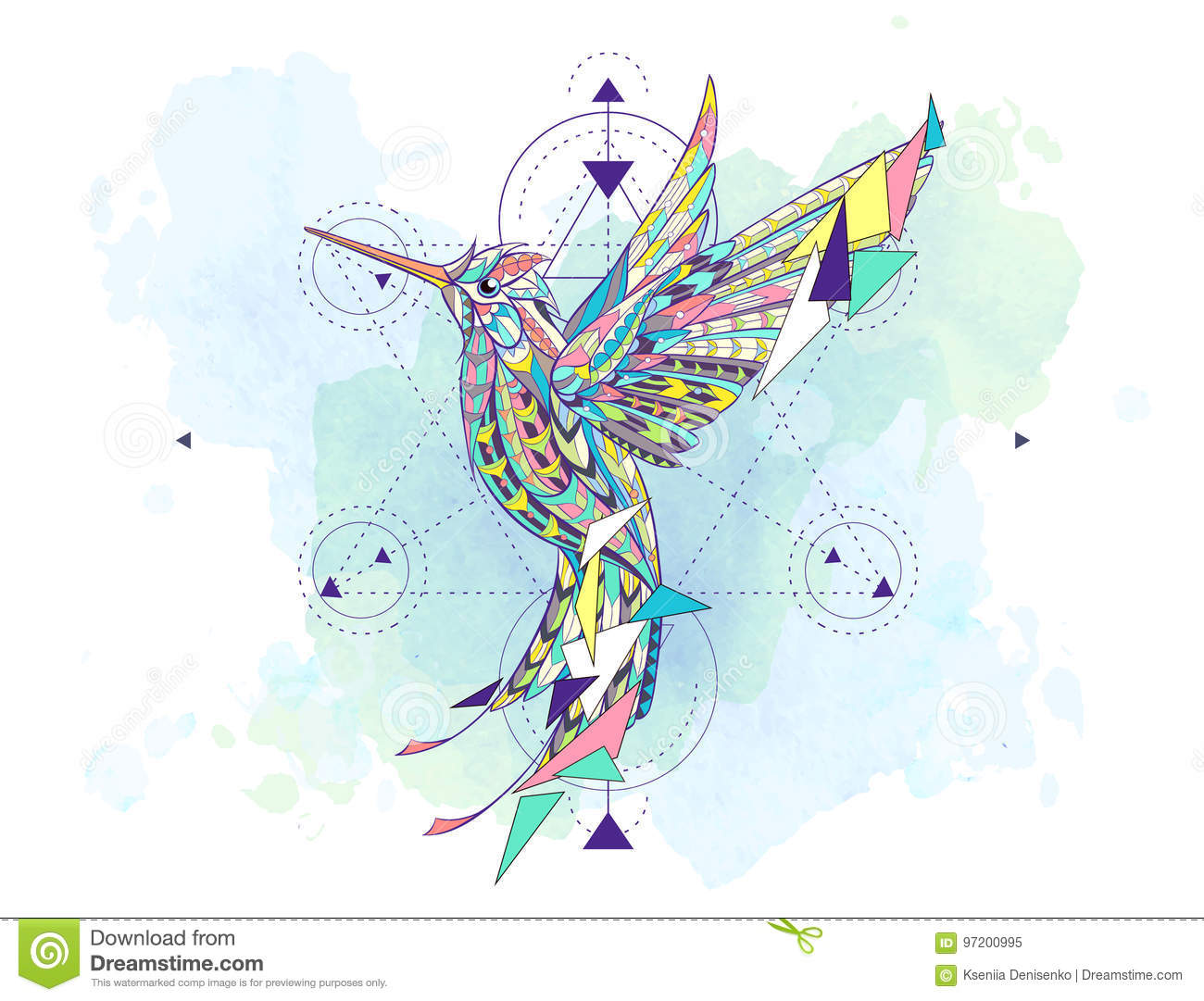 6e360dd40 Patterned hummingbird with geometry on the grunge background. African,  indian, totem, tattoo design. It may be used for design of a t-shirt, bag,  postcard, ...